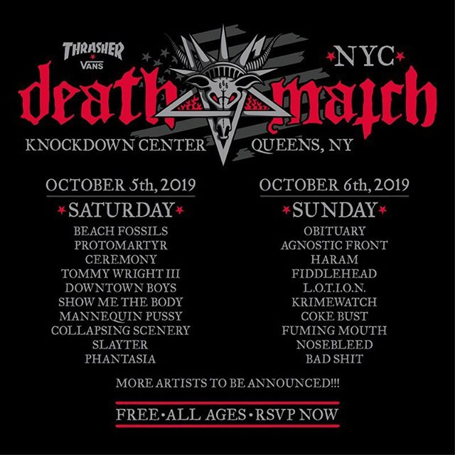Beyond excited to announce that the NYC stop on our tour with @ceremony will be an appearance at DEATH MATCH NYC on Saturday October 5th with this killer lineup at Knockdown Center. FREE / ALL AGES