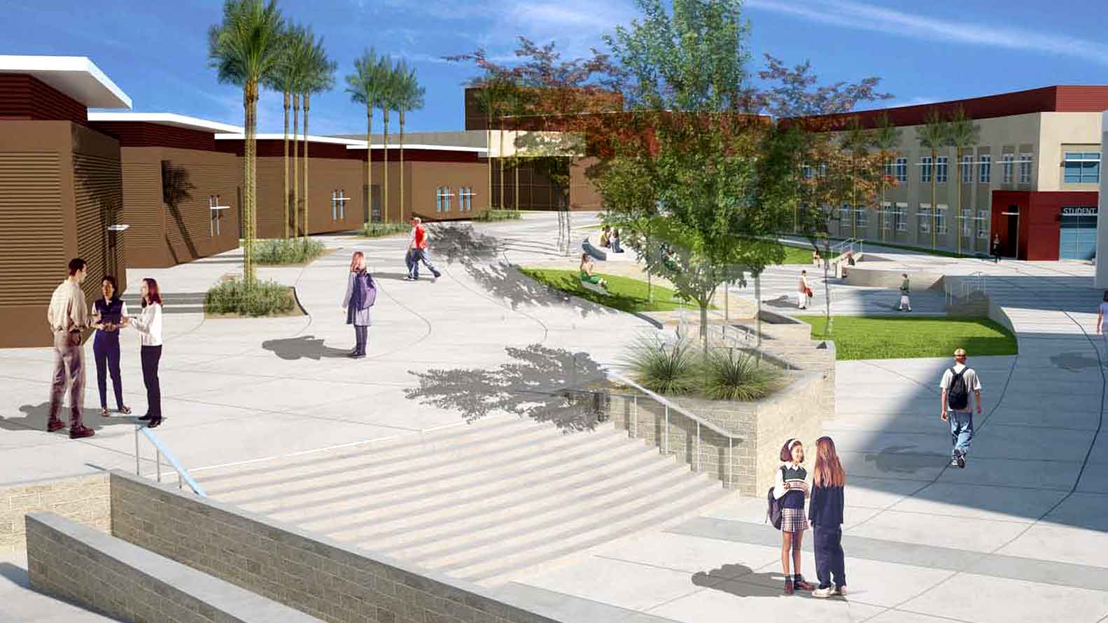 Artist's Rendering of Castaic High Campus' Courtyard.