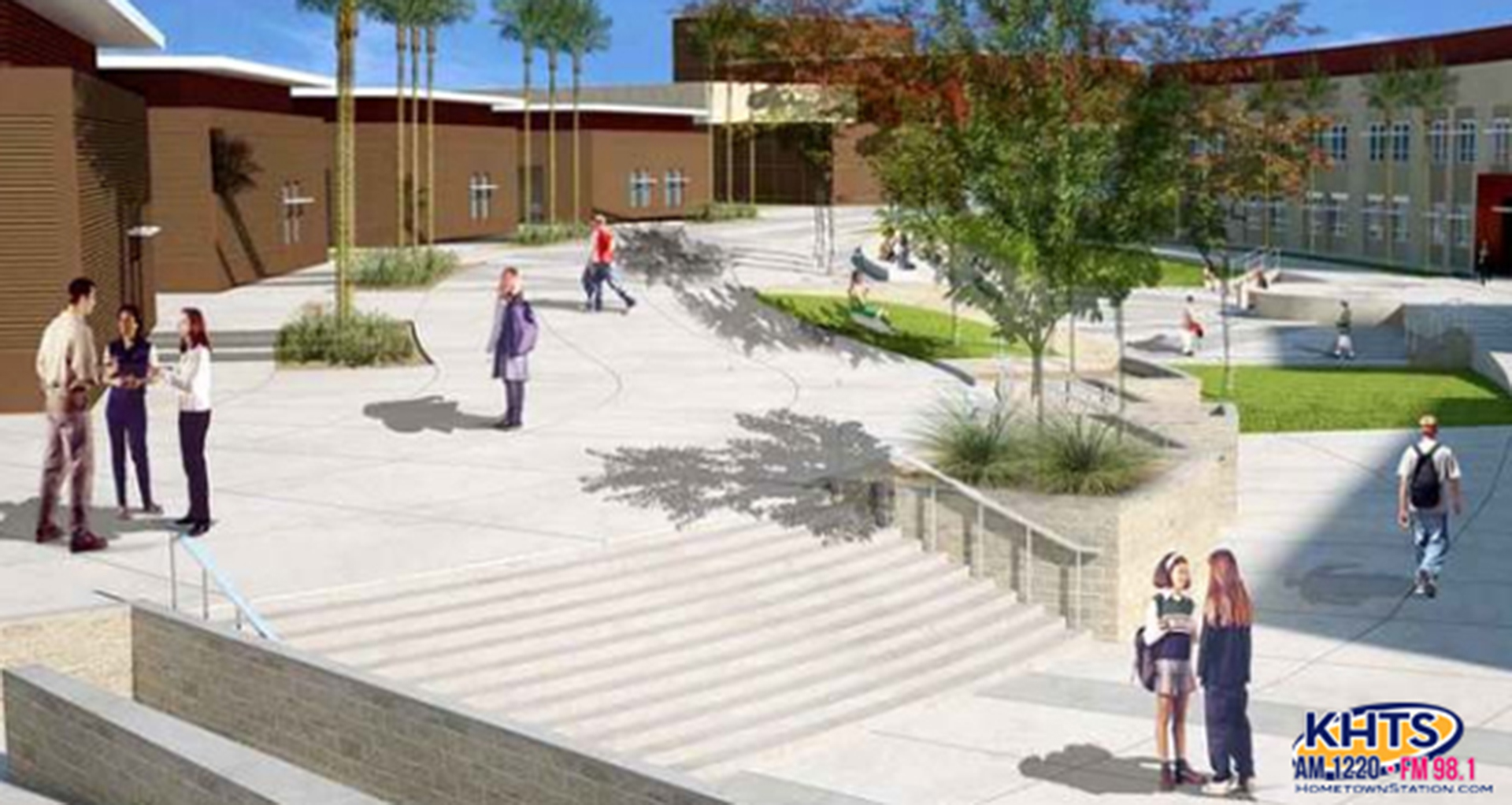 A computer-generated image of the future Castaic High School.