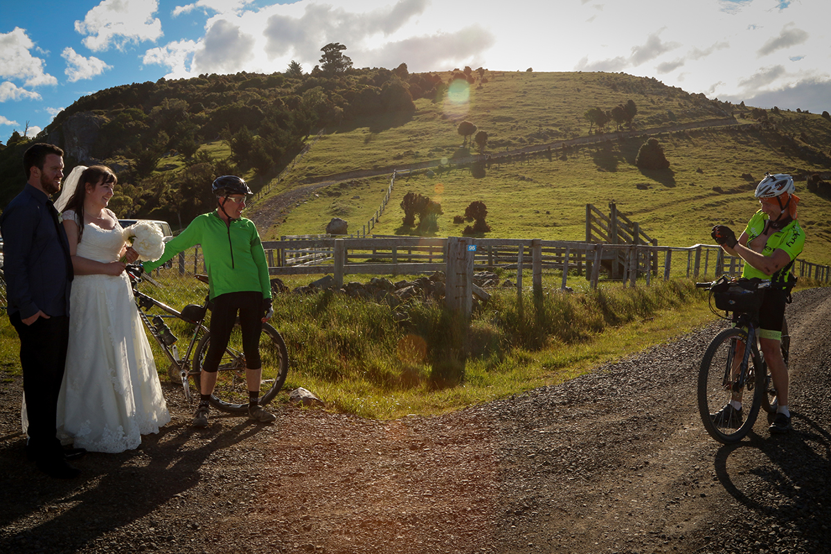 A quick pic with some lovely cyclists we met at the top of the hill.  Photo by Kim Wheeler Photography