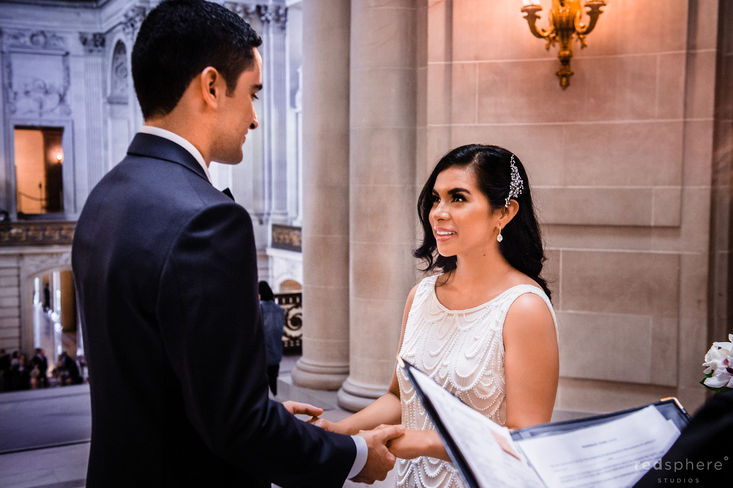 Bride and Groom Saying Their Vows at San Francisco City Hall