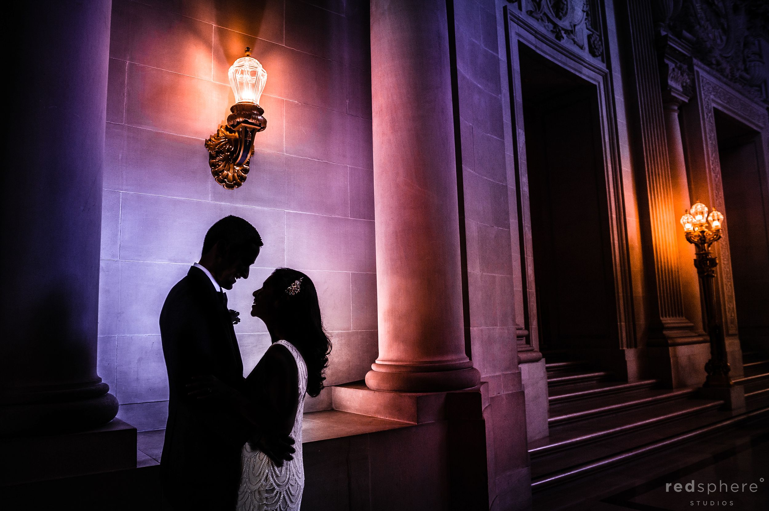San Francisco City Hall Wedding Silhouette