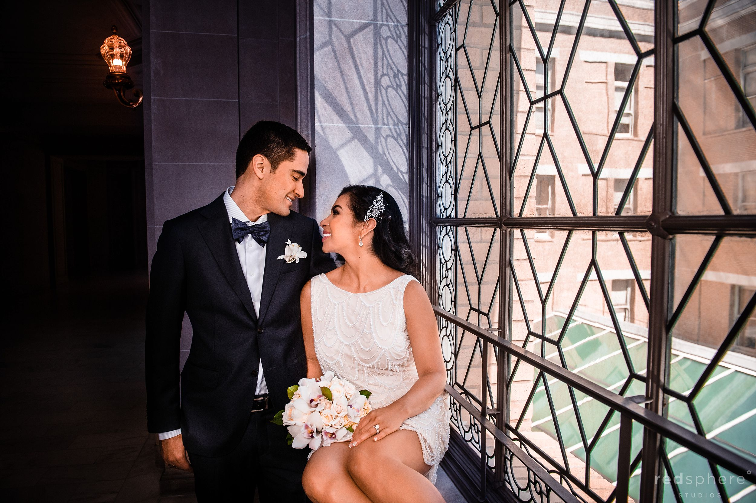 Bride With Bouquet and Groom at San Francisco City Hall Wedding