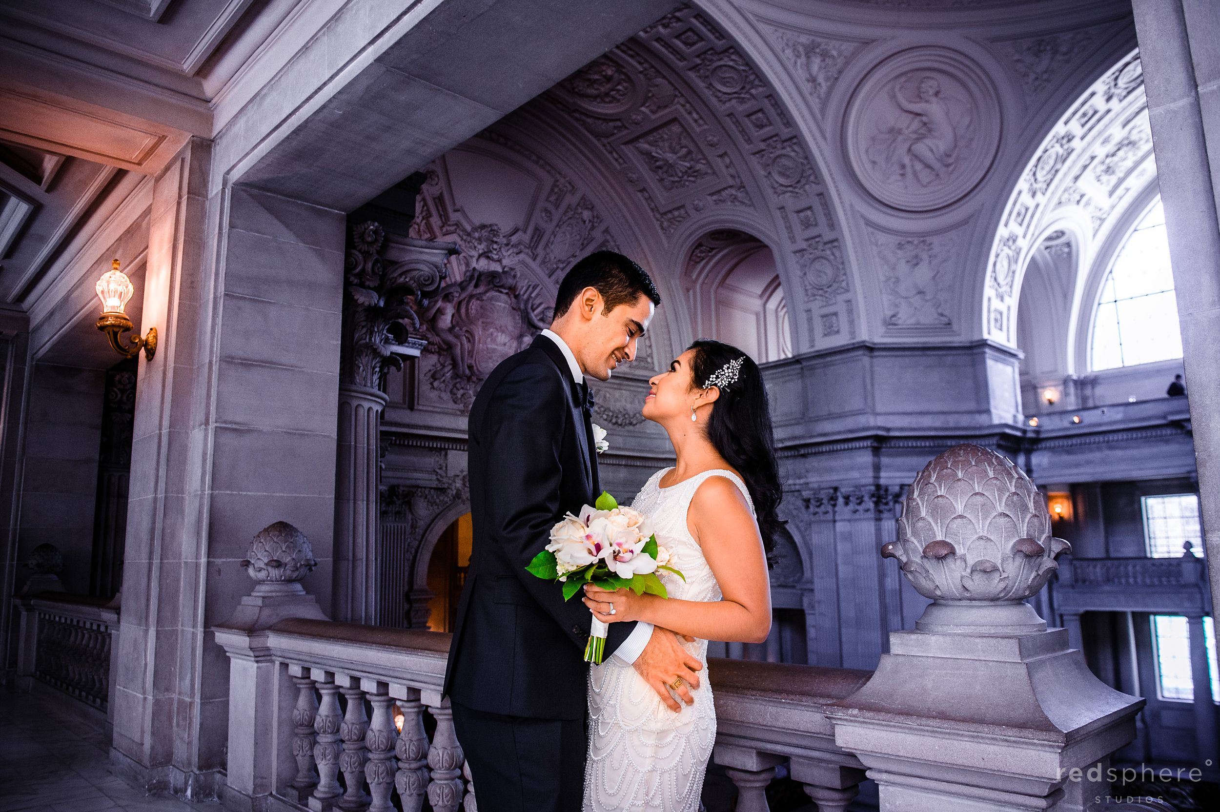 Bride and Groom at San Francisco City Hall Wedding