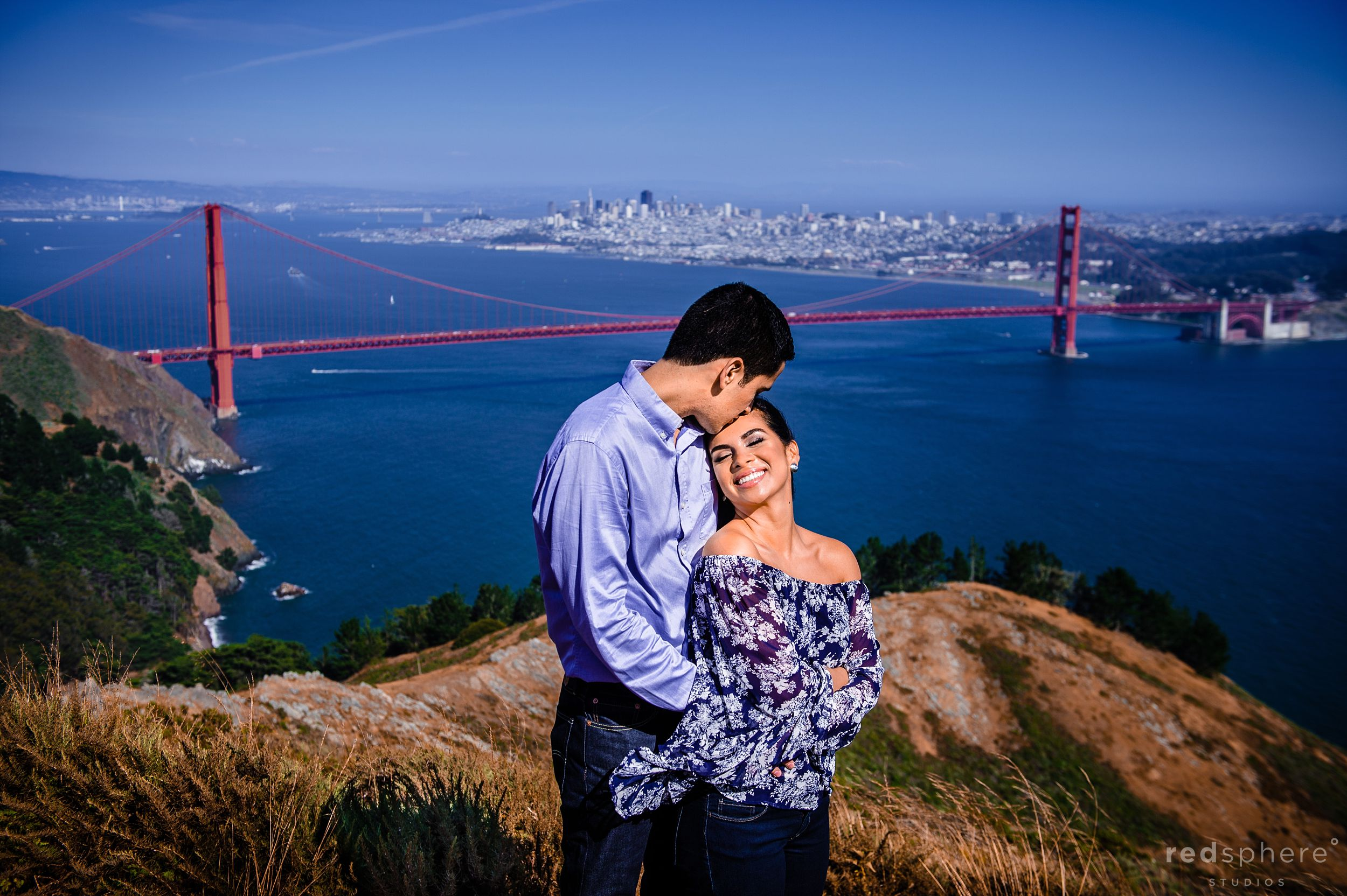 Couple Engagement at Marin Headlands Overlooking Golden Gate Bridge