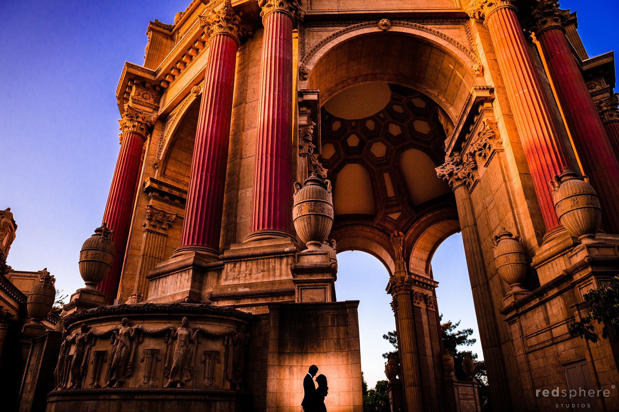 Silhouette Engagement Photo at San Francisco Palace of Fine Arts
