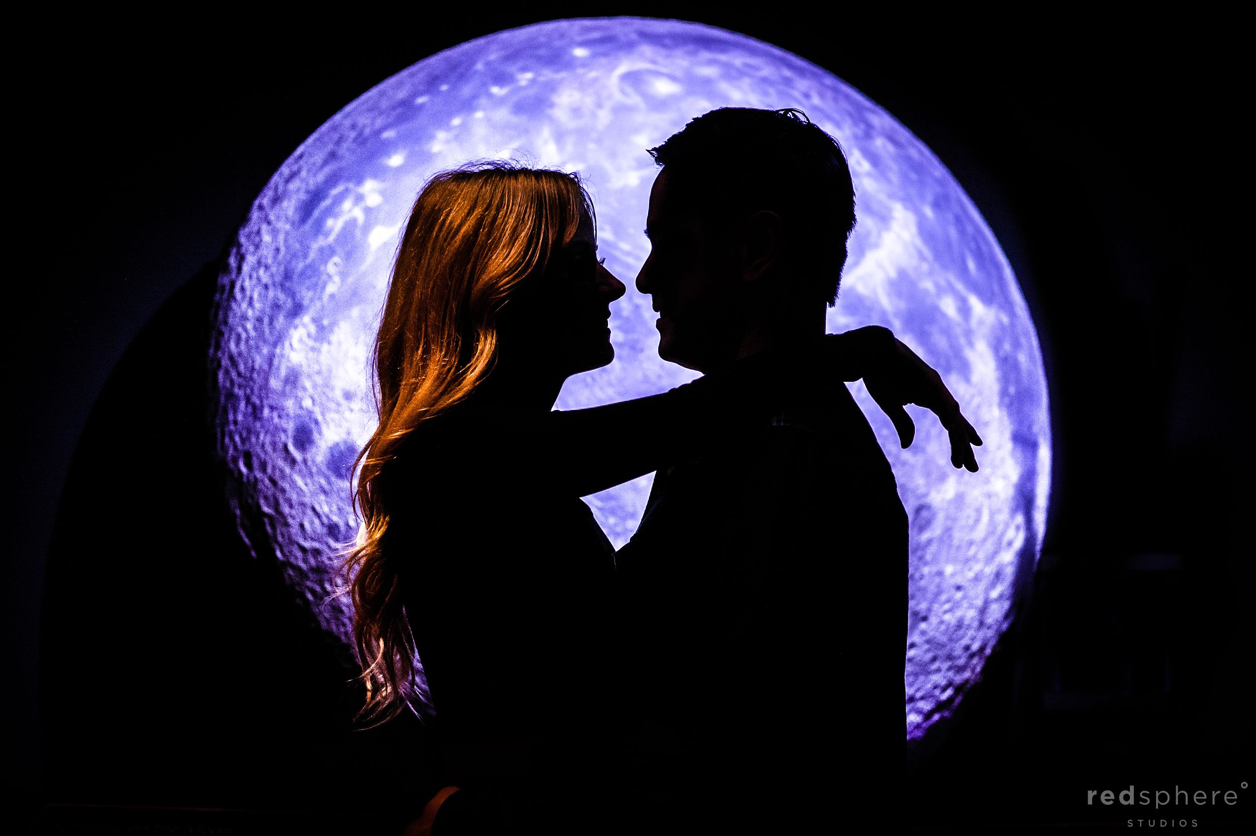 Silhouette of Couple Engagement at Griffith Observatory Los Angeles, Moon Background