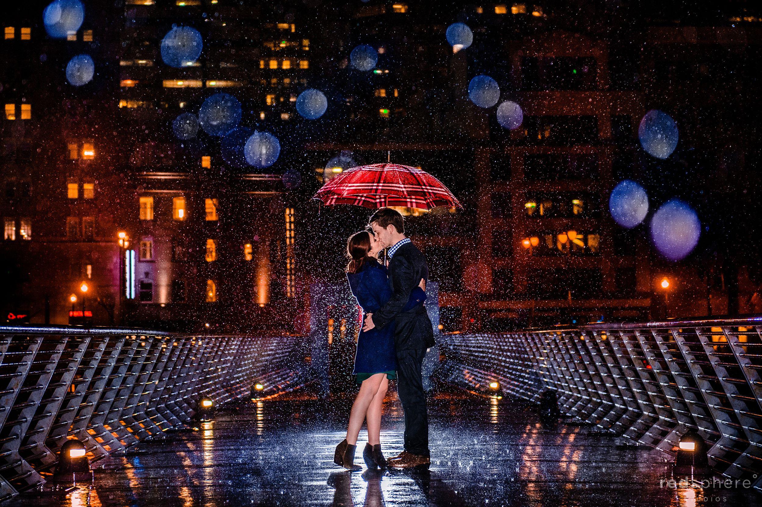 Pier 14 San Francisco Engagement Kiss in The Rain