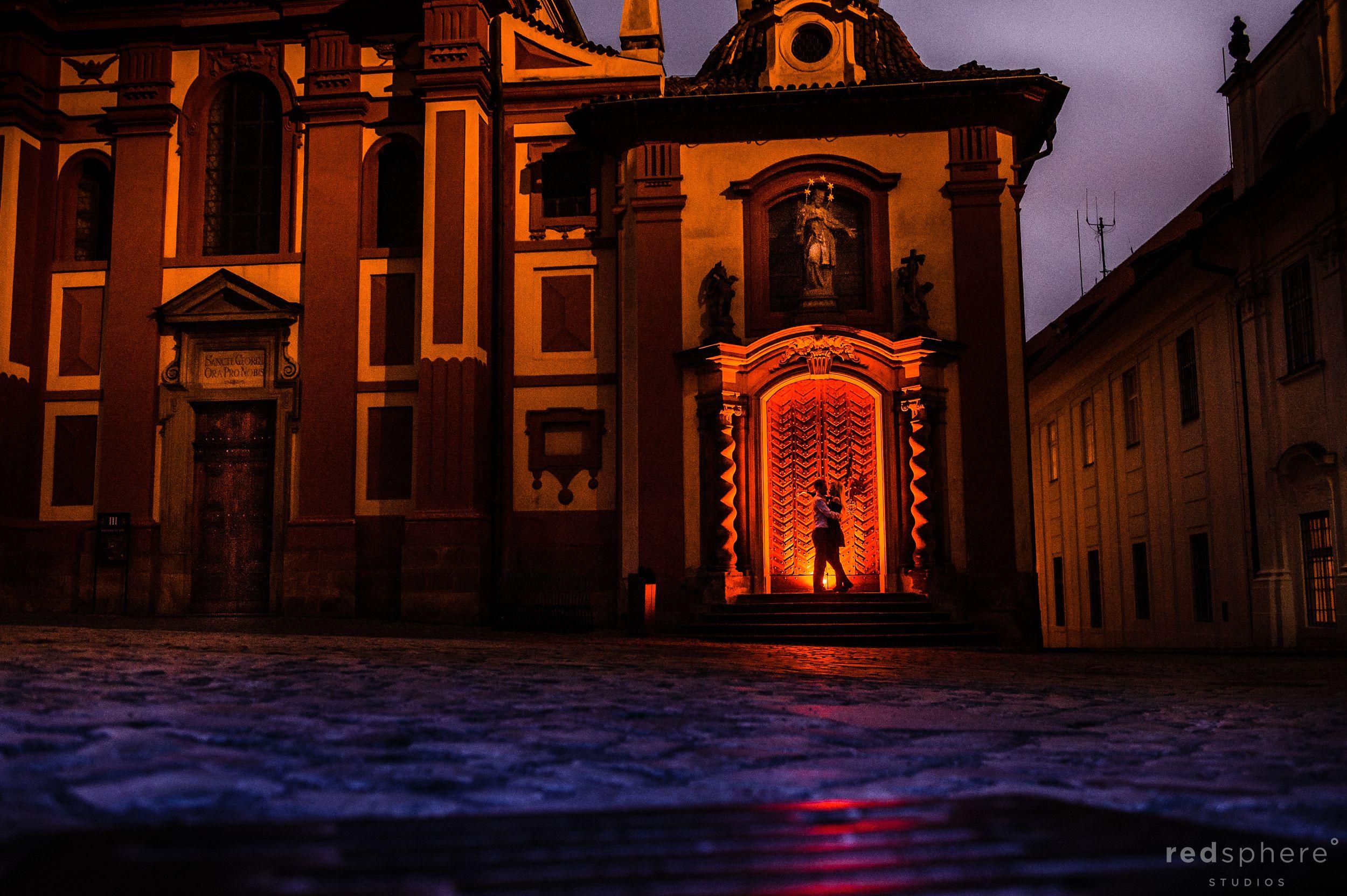 Prague Castle Engagement Silhouette