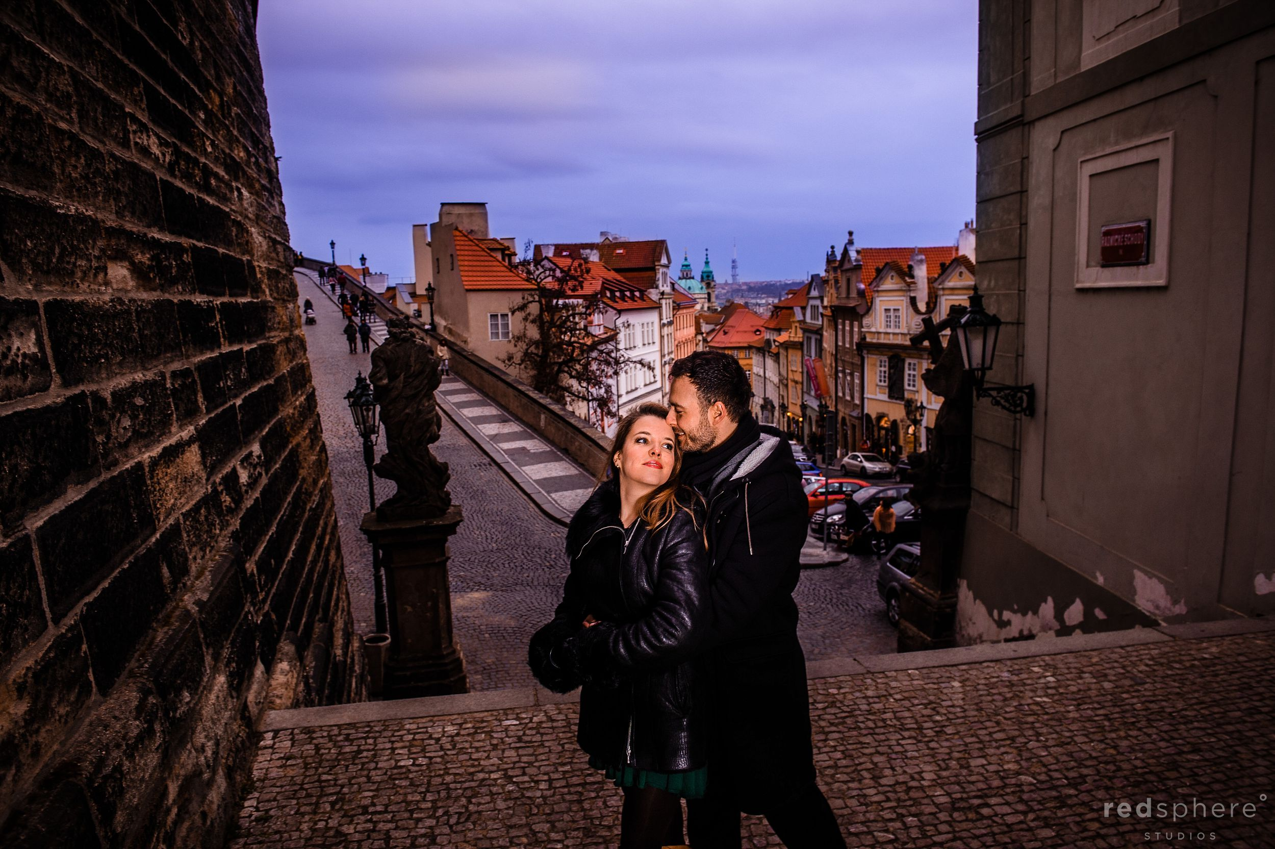 Special Moment Shared Between Couple at Old Town Prague Engagement