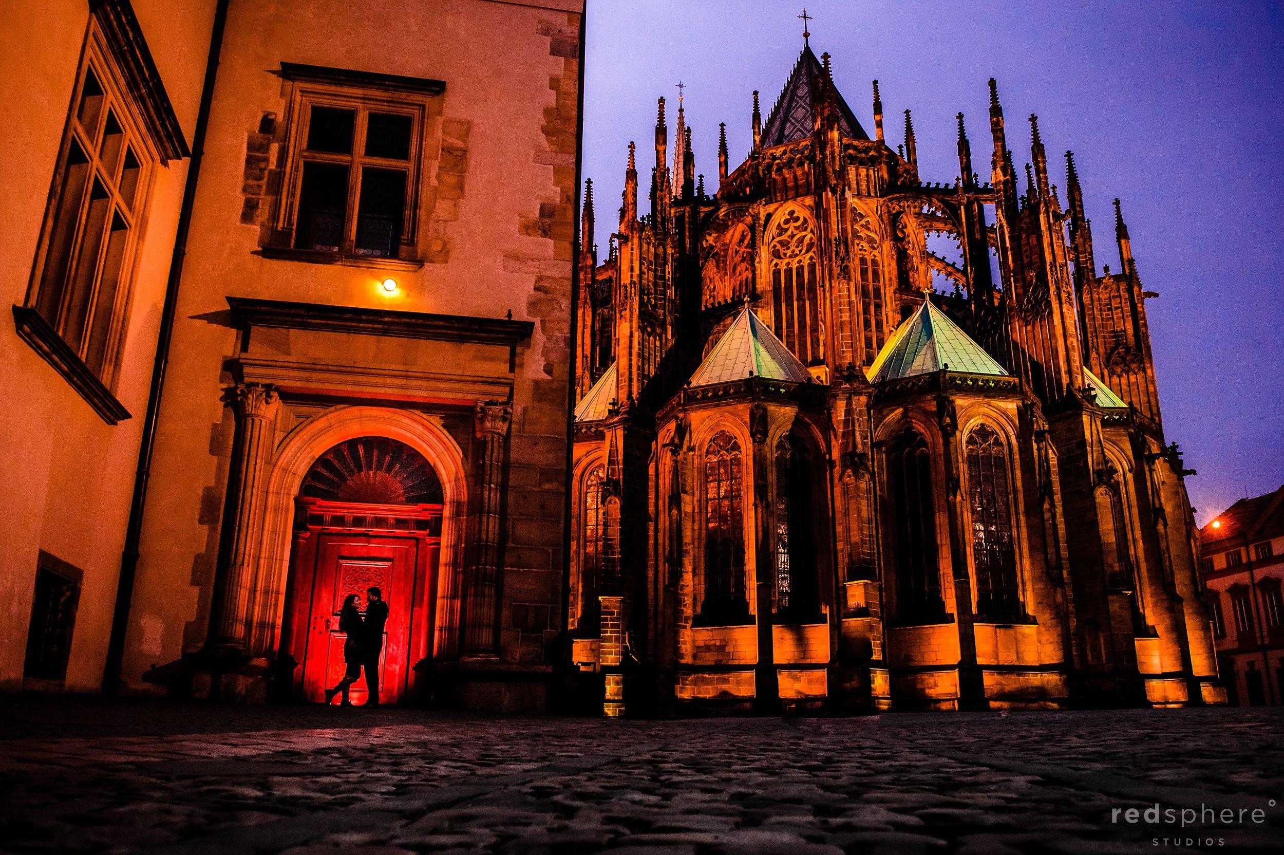 Couple Silhouette at Prague Castle Destination Engagement