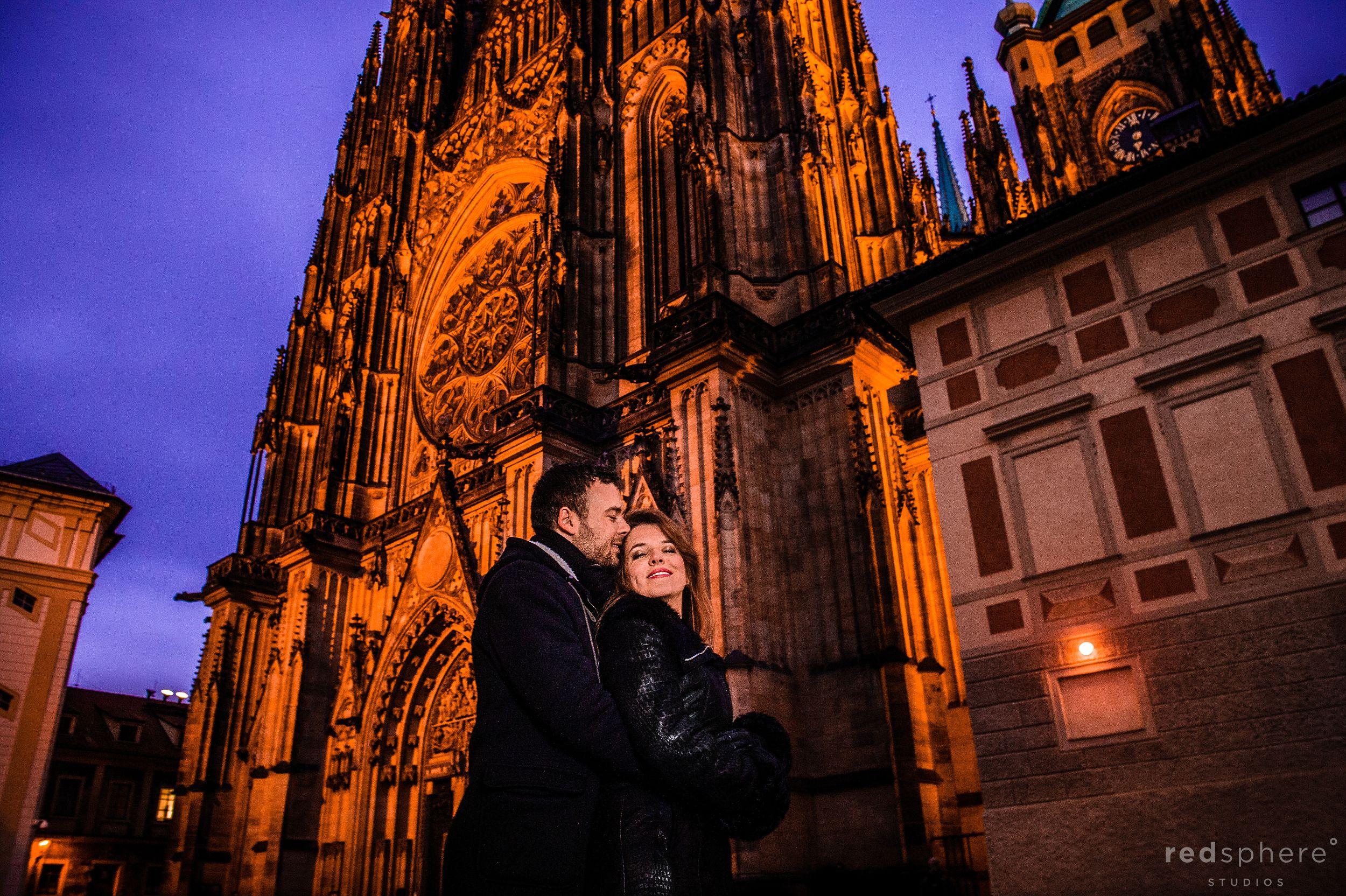 Special Moment During Engagement, Prague Castle, Czech Republic