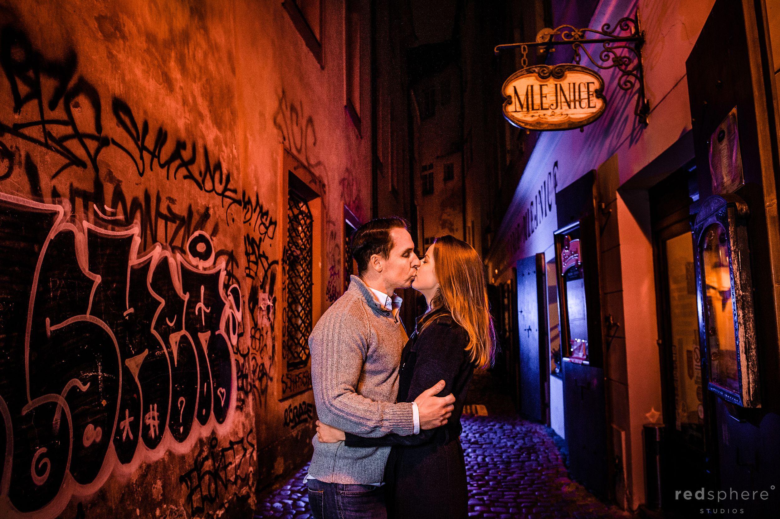 Couple Kiss at Old Town Prague Engagement, Czech Republic