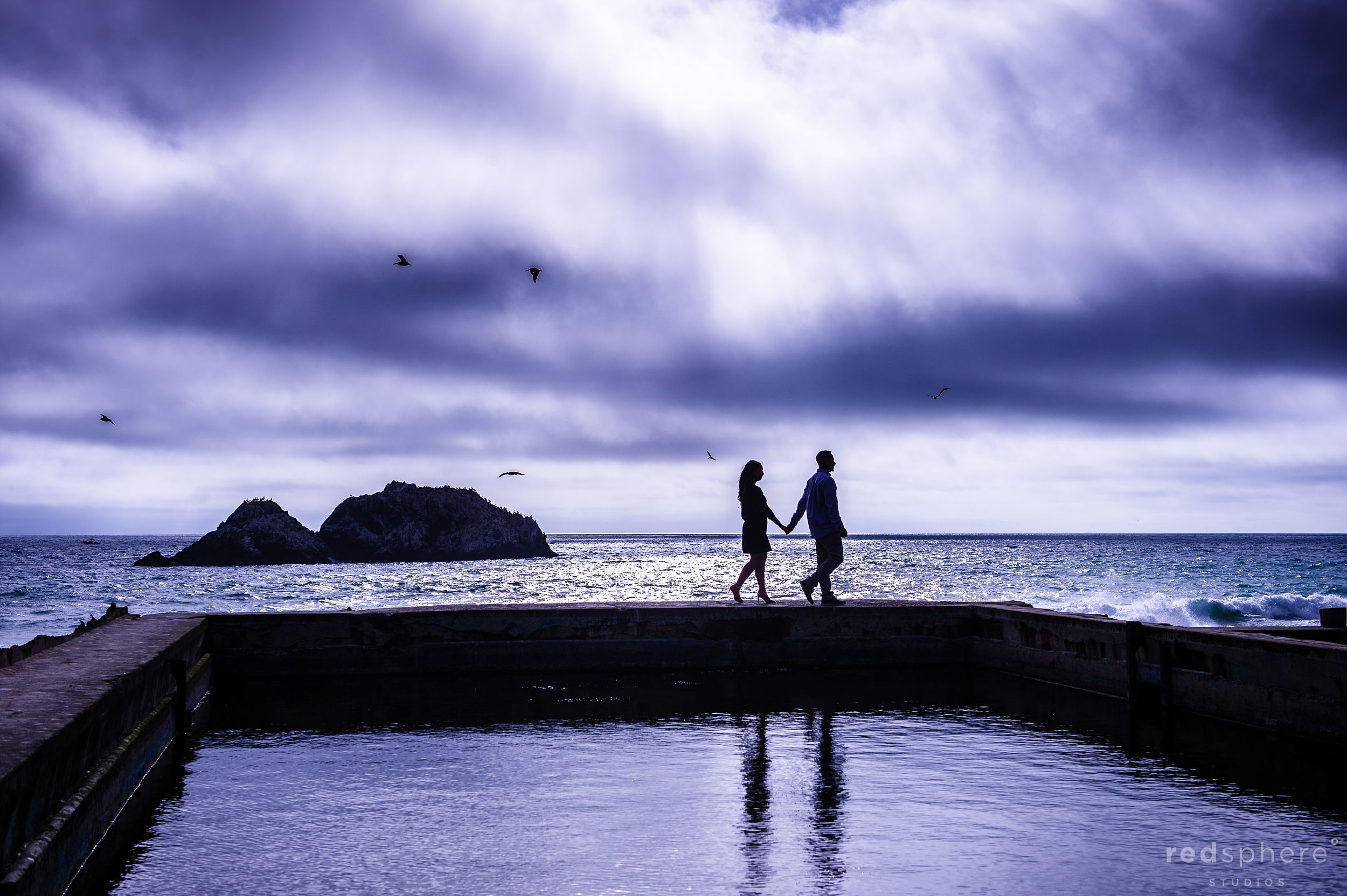 Couple Silhouette and Reflection at Sutro Bath Engagement Session