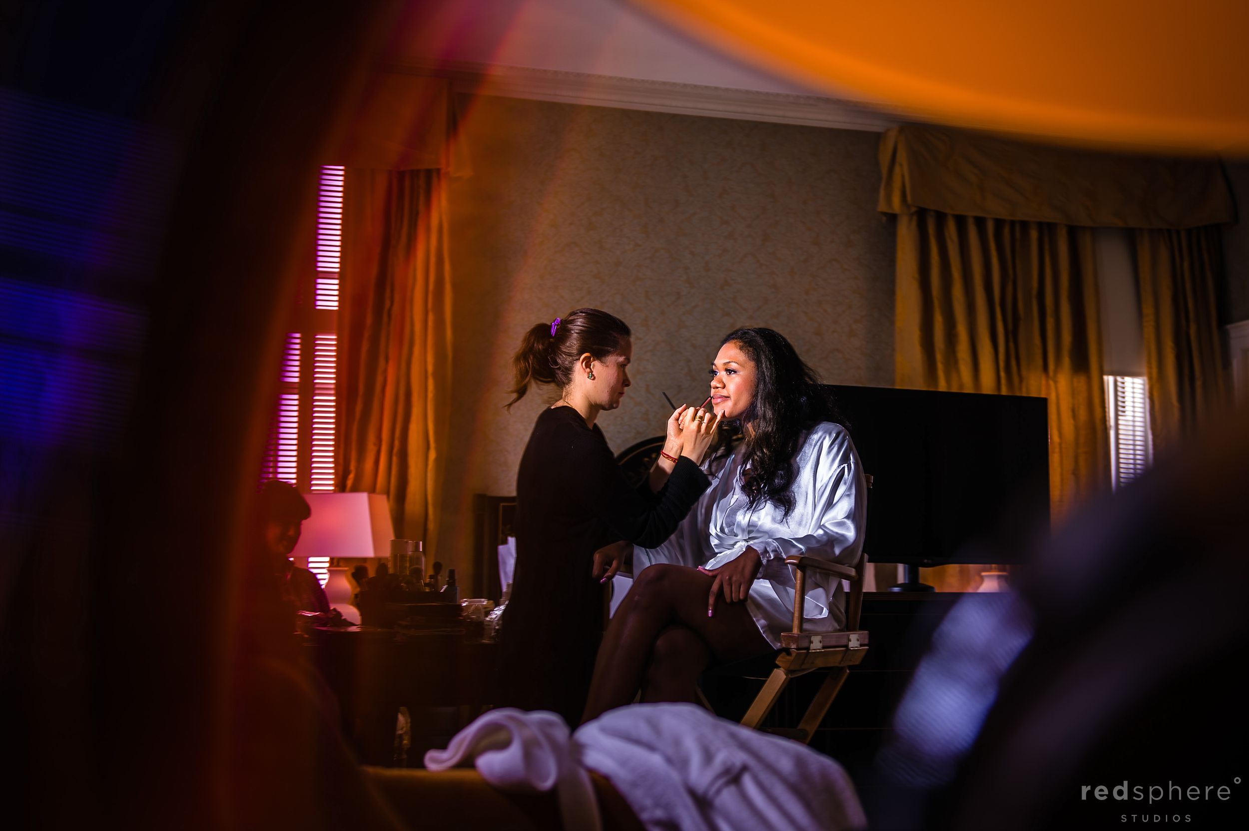 The Bride Getting Her Makeup Done For Fairmont Hotel Wedding