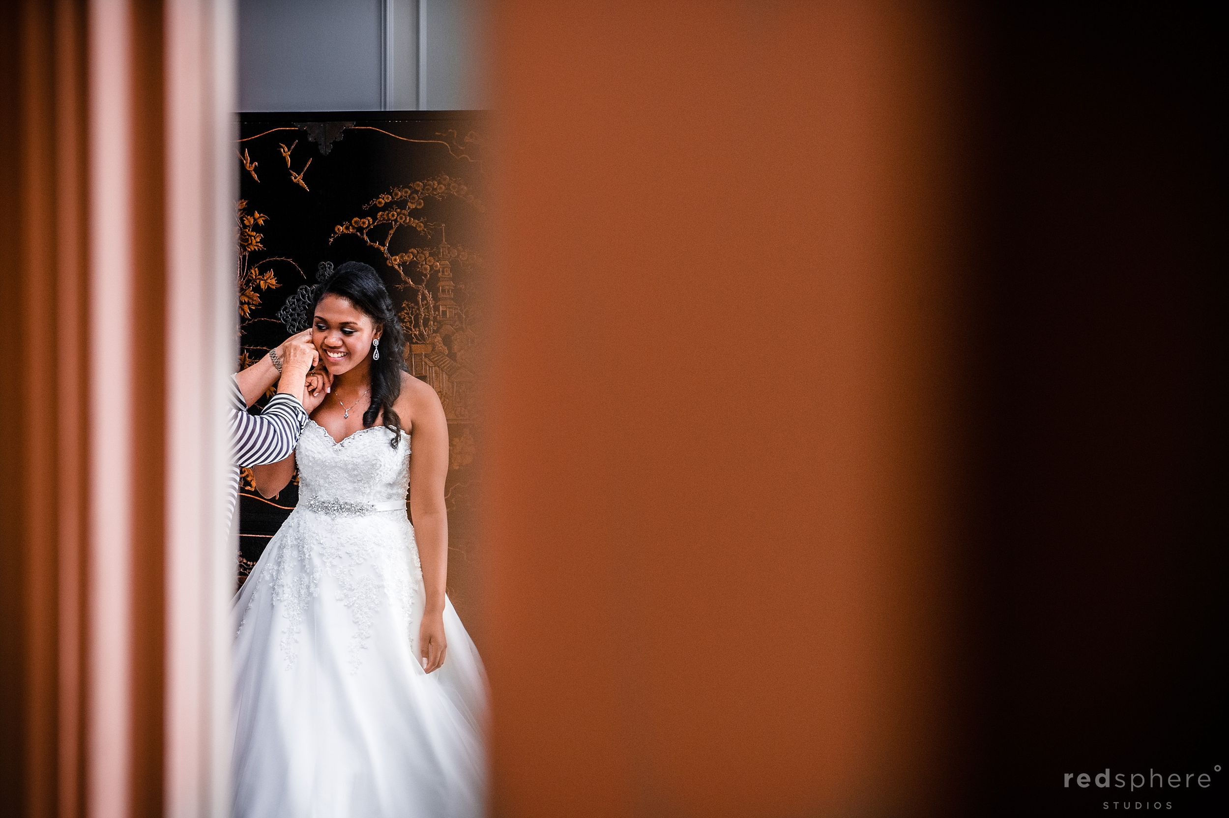 Final Touches for the Bride in Her Wedding Dress, Fairmont Hotel Penthouse San Francisco