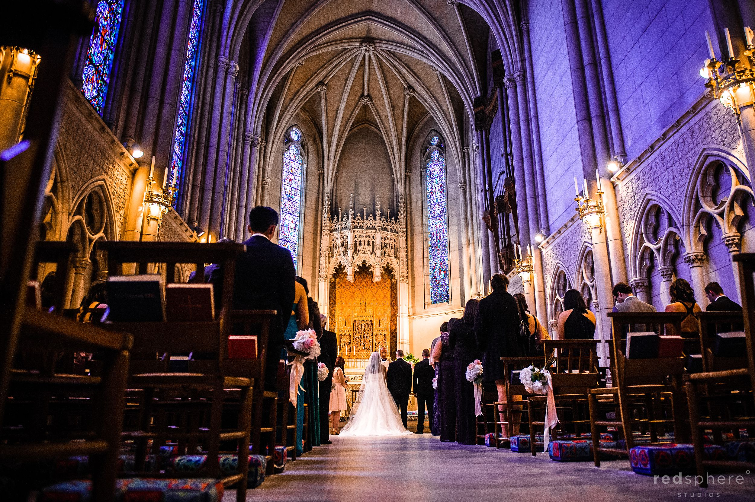 Bride and Groom Facing The Officiant at Grace Cathedral SF Wedding