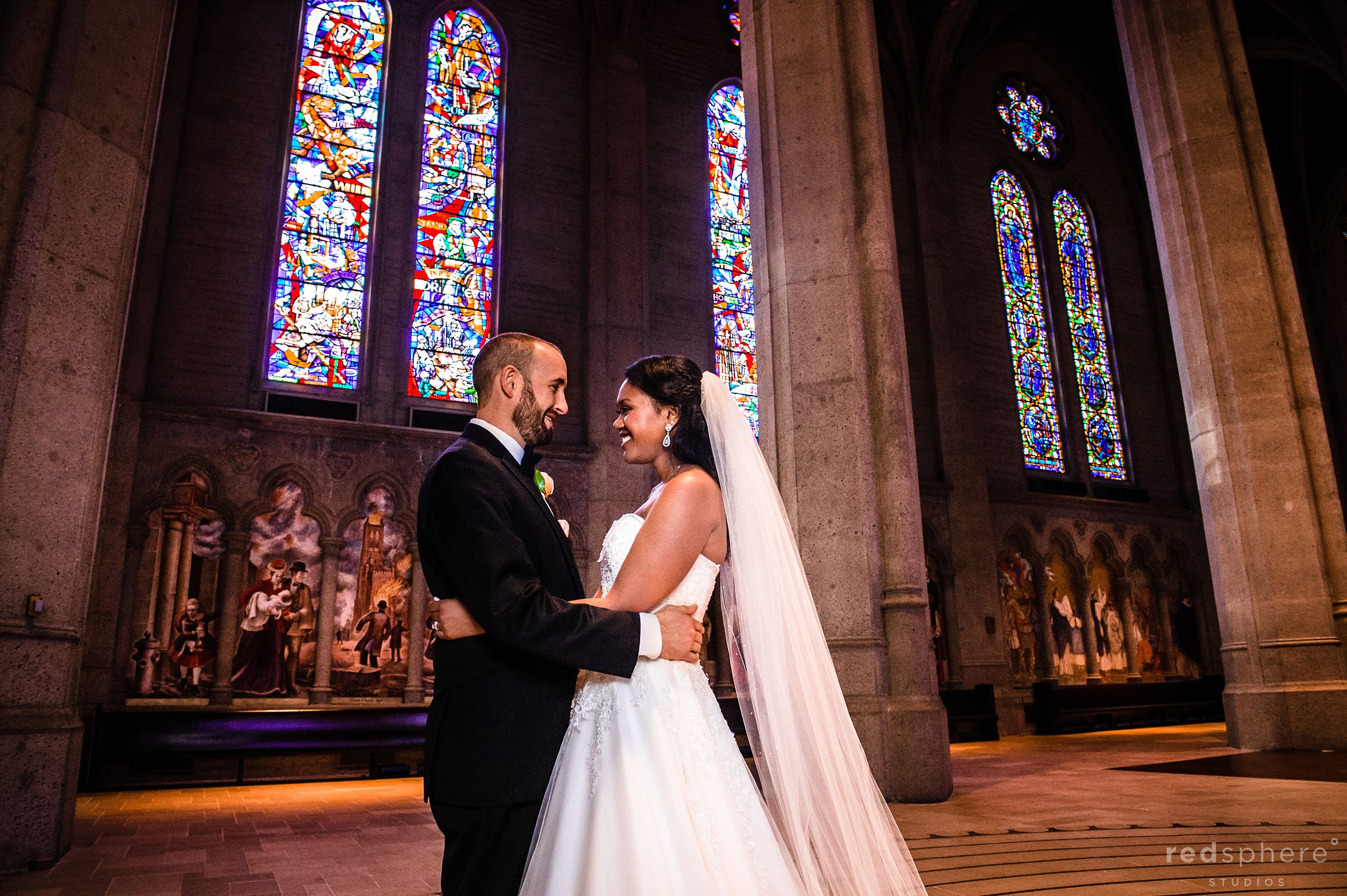 Bride and Groom at Grace Cathedral San Francisco Wedding