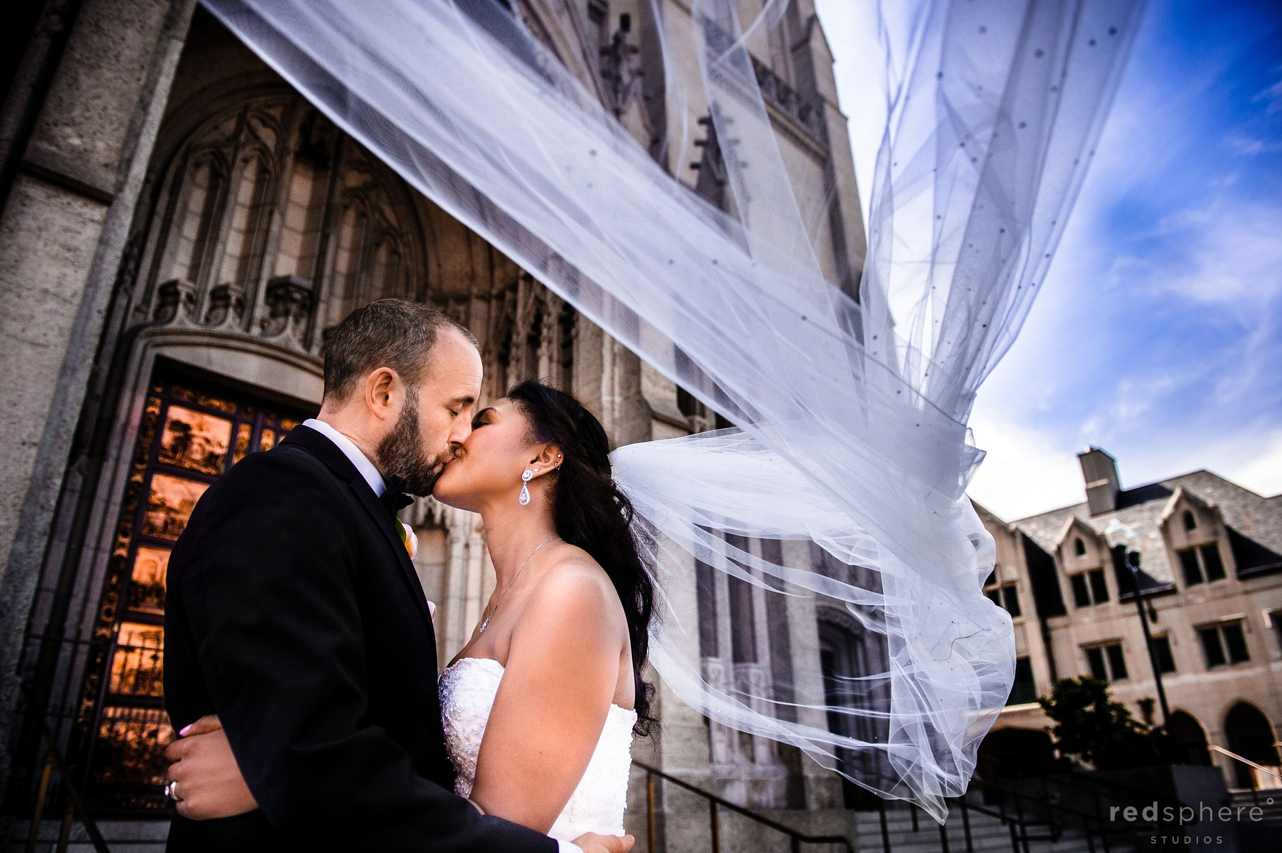 Bride and Groom Share a Kiss on Their Wedding Day, Grace Cathedral