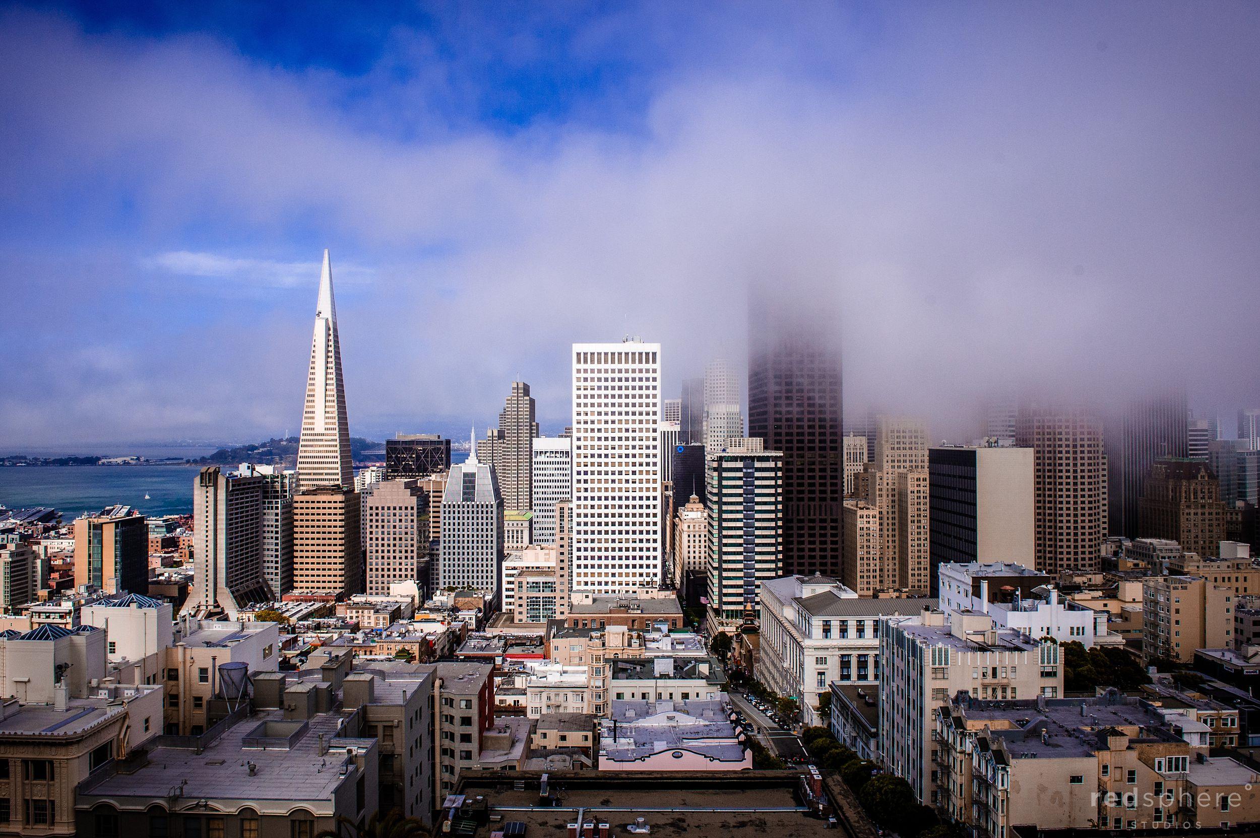 Foggy San Francisco Skyline From Fairmont Hotel Penthouse Wedding