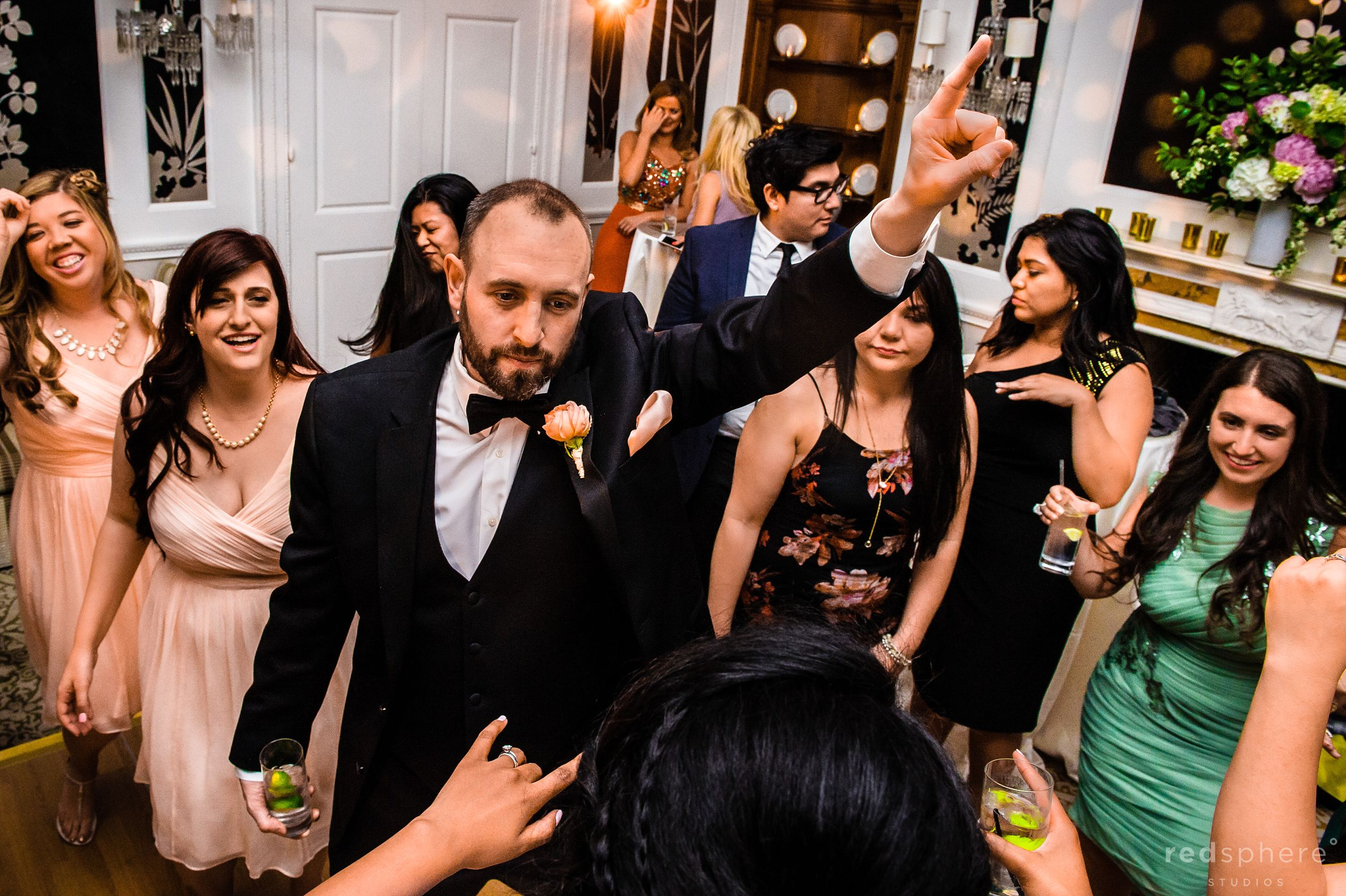 Groom Gets Ready to Party at Fairmont Hotel Penthouse Suite Wedding