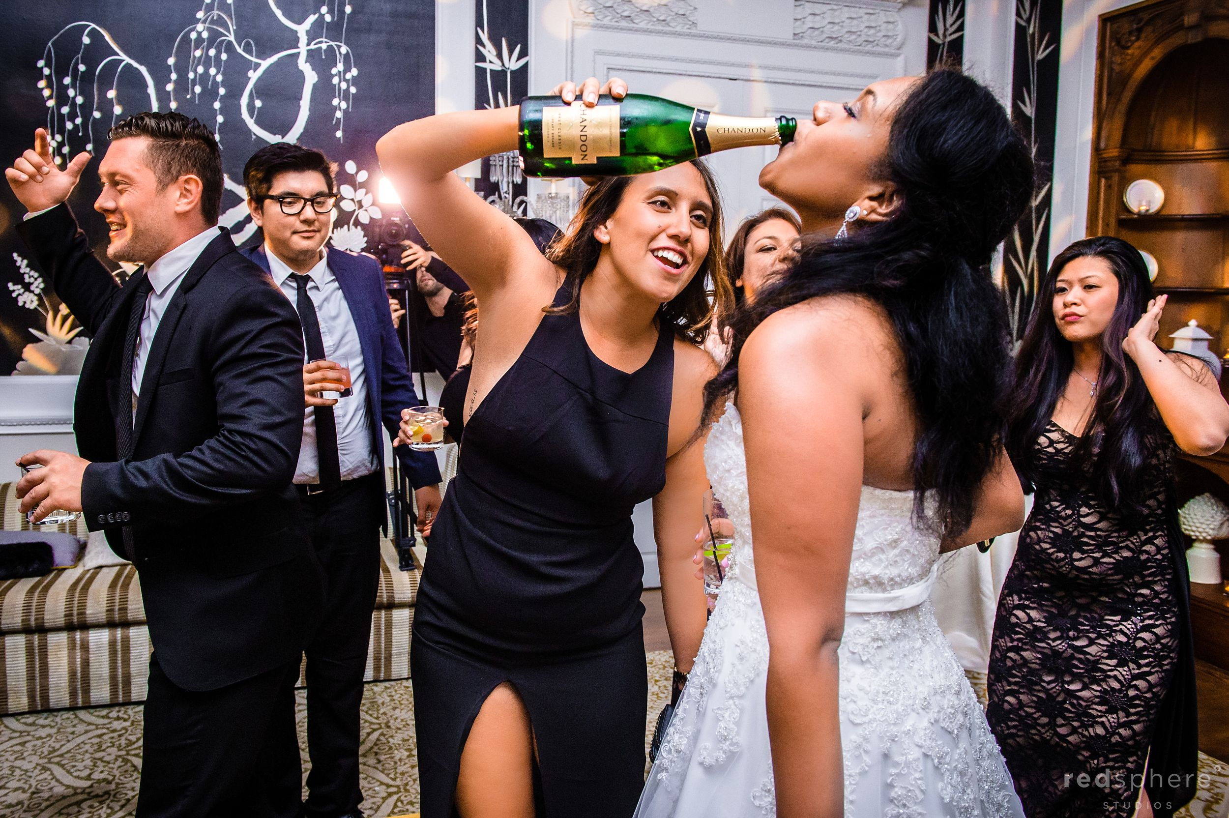 Bride Drinking at Fairmont Hotel Wedding After Party