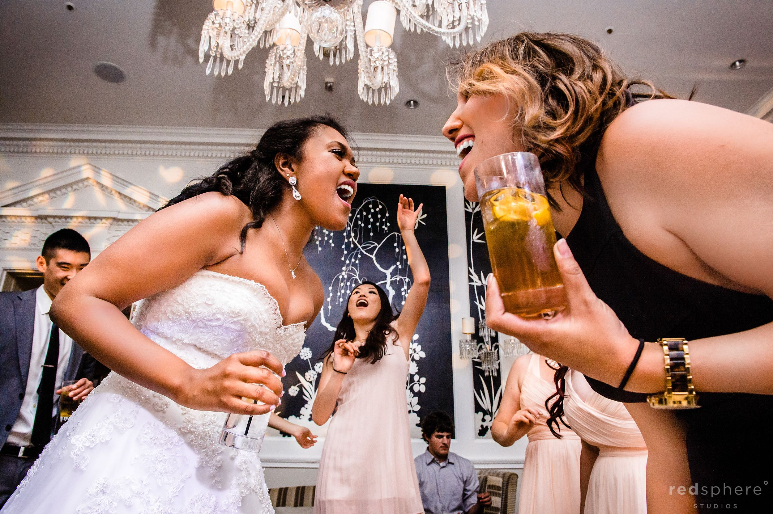 Bride and Friends Party at Fairmont Hotel Wedding After Party