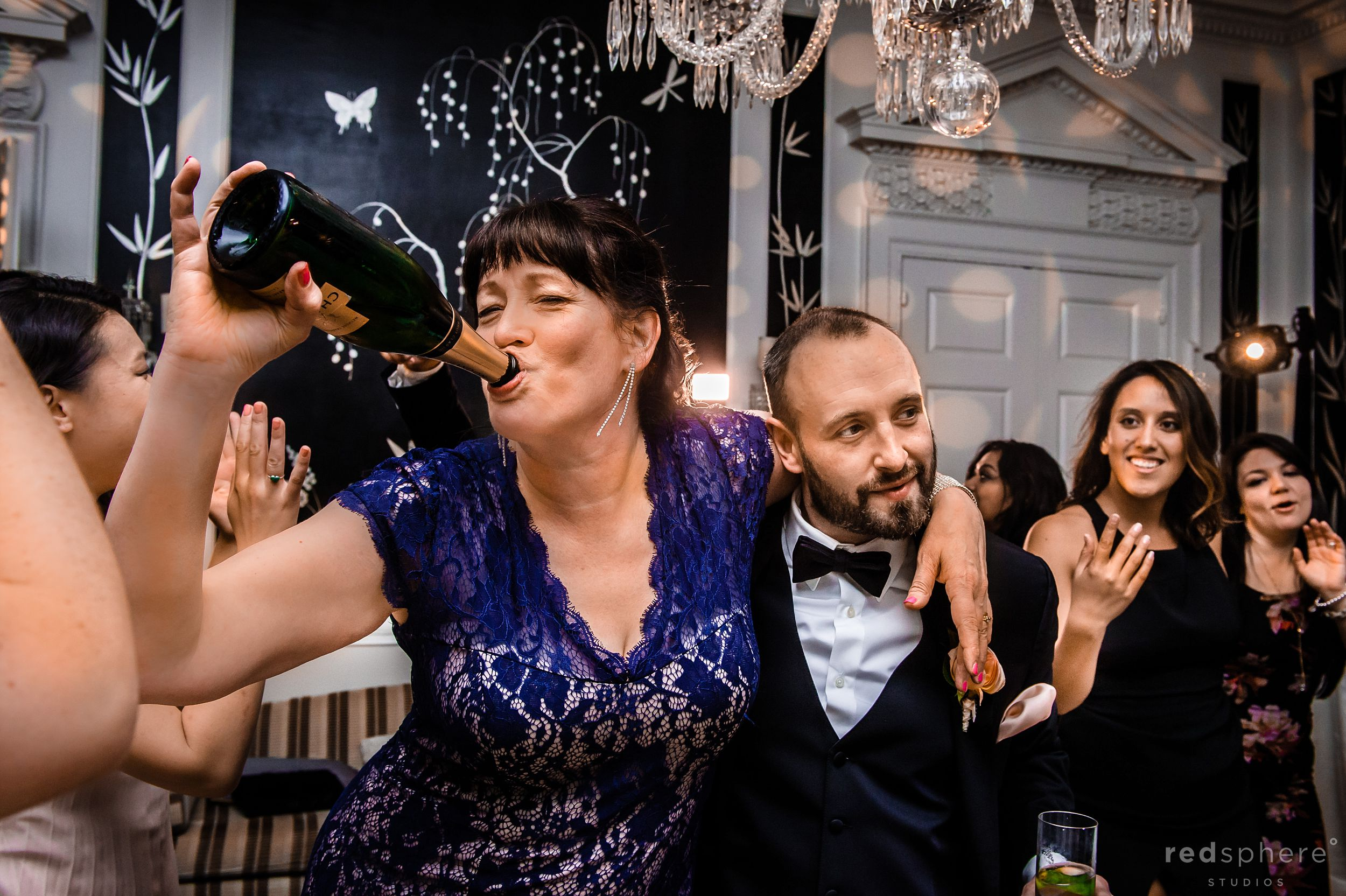 Groom and His Friend Partying at Fairmont Hotel Wedding After Party