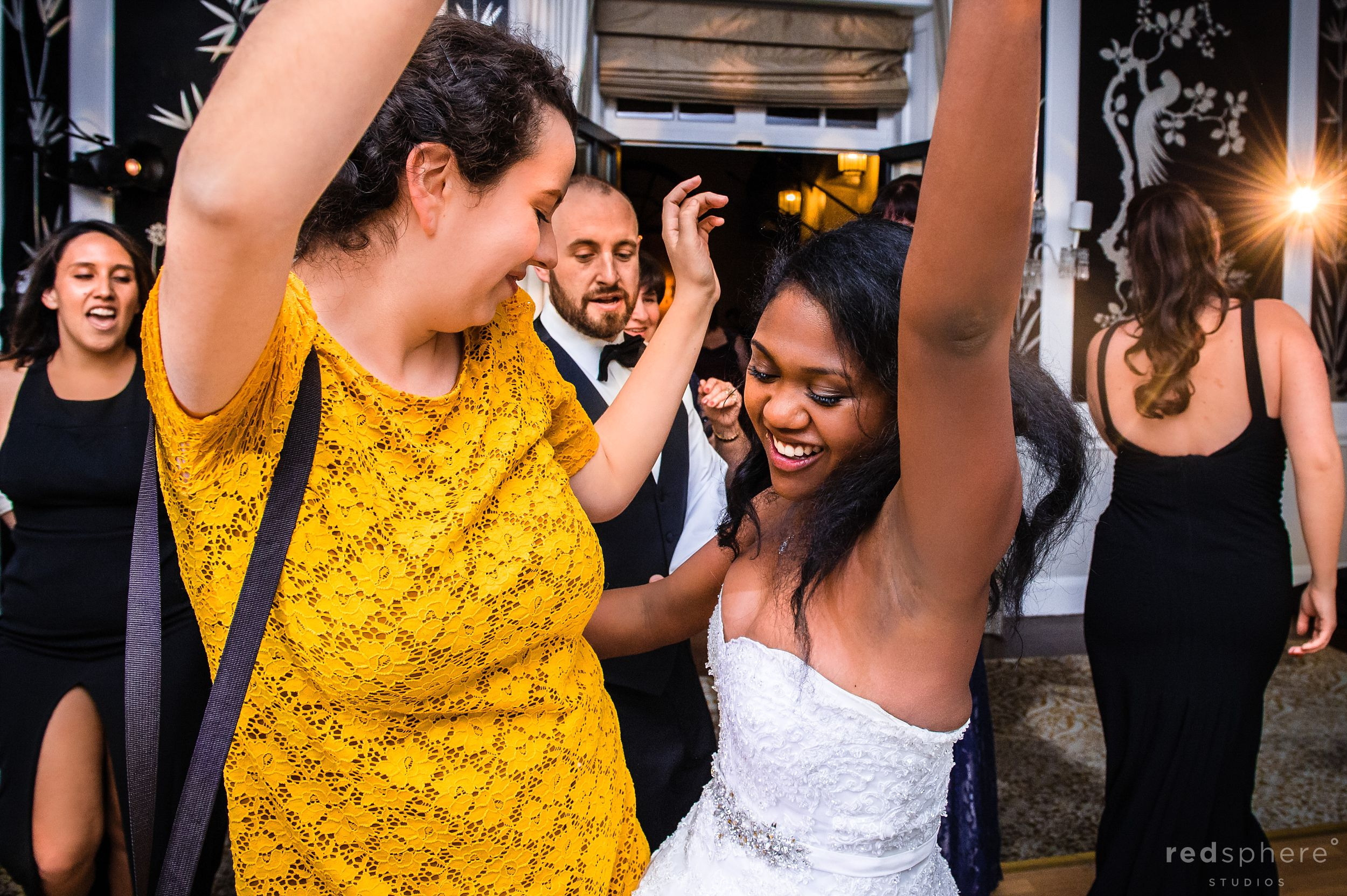 Bride Dances With Guests at Fairmont Hotel Wedding After Party, Candid