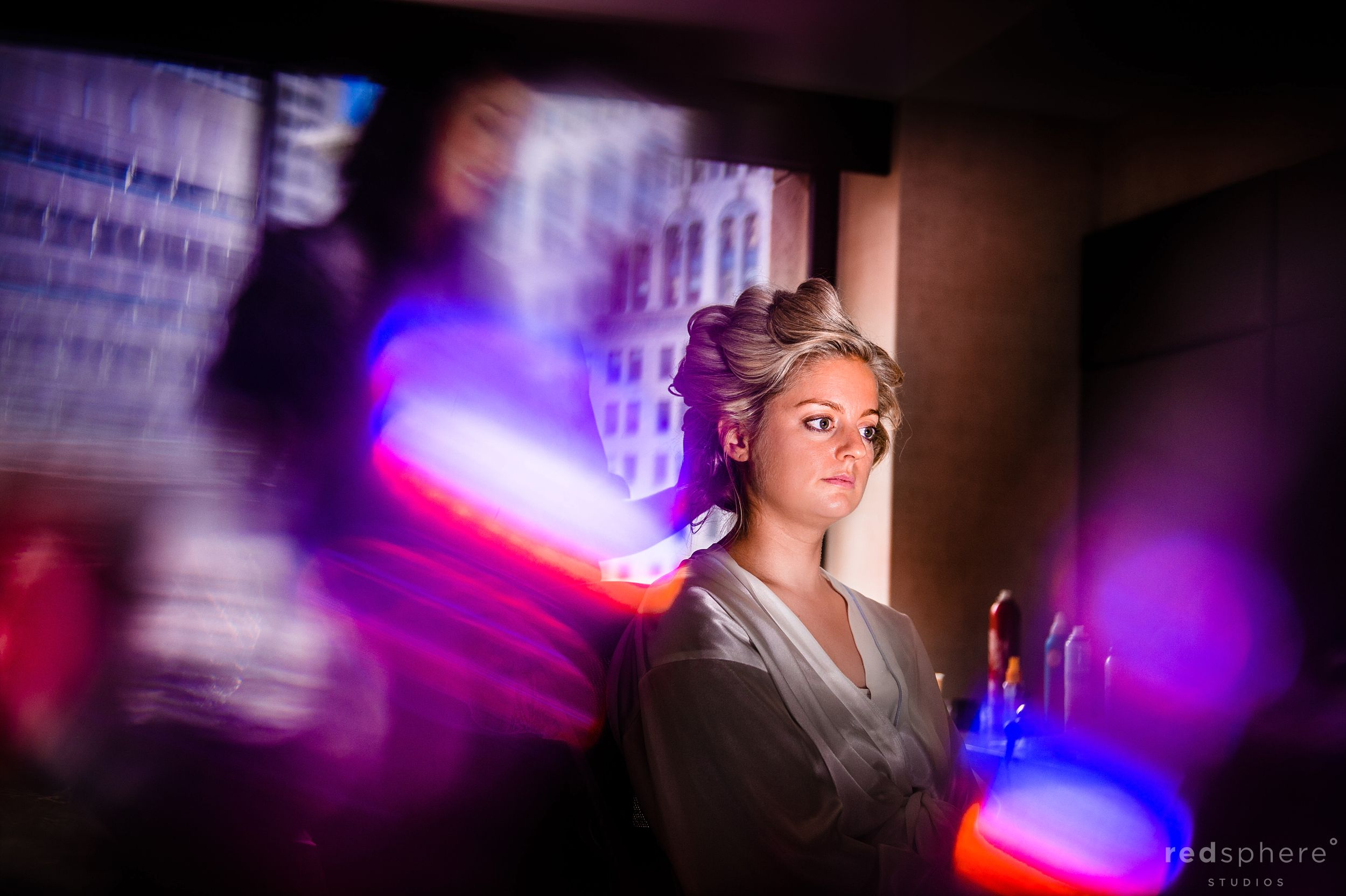 Bride Getting Her Hair Done by Stylist, Slow Shutter Bokeh