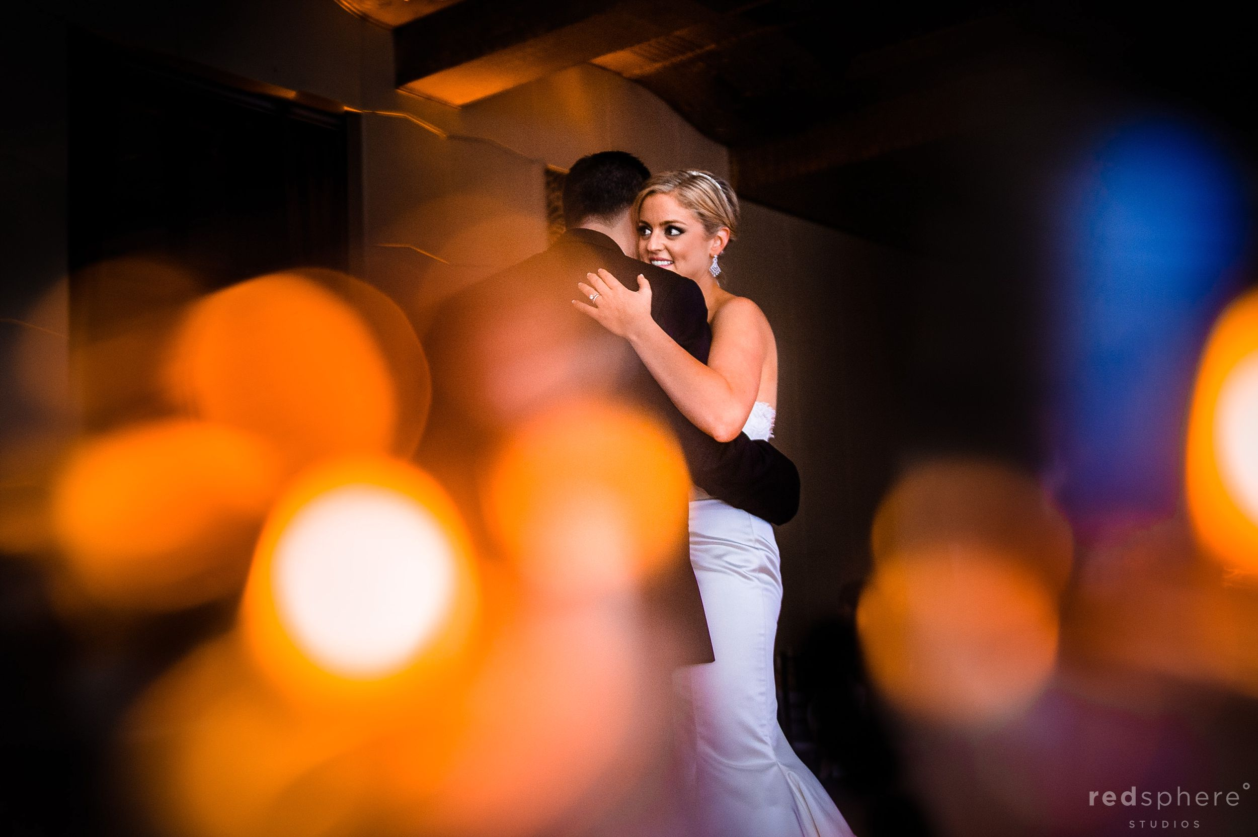 Bride and Groom Slow Dance After Wedding Ceremony, City Club San Francisco, Bokeh