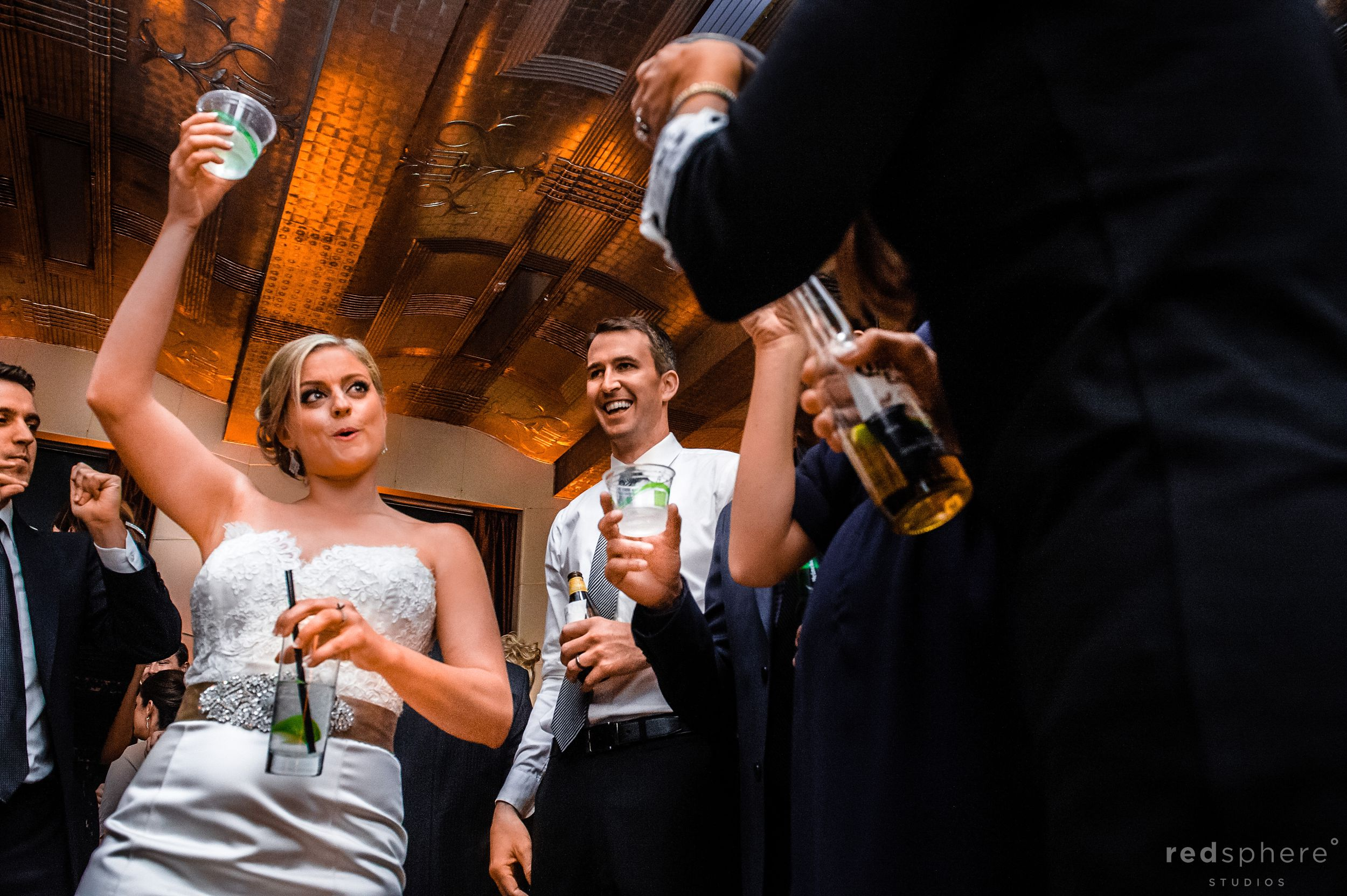 Bride and Guests Give Toast at City Club San Francisco Wedding After Party