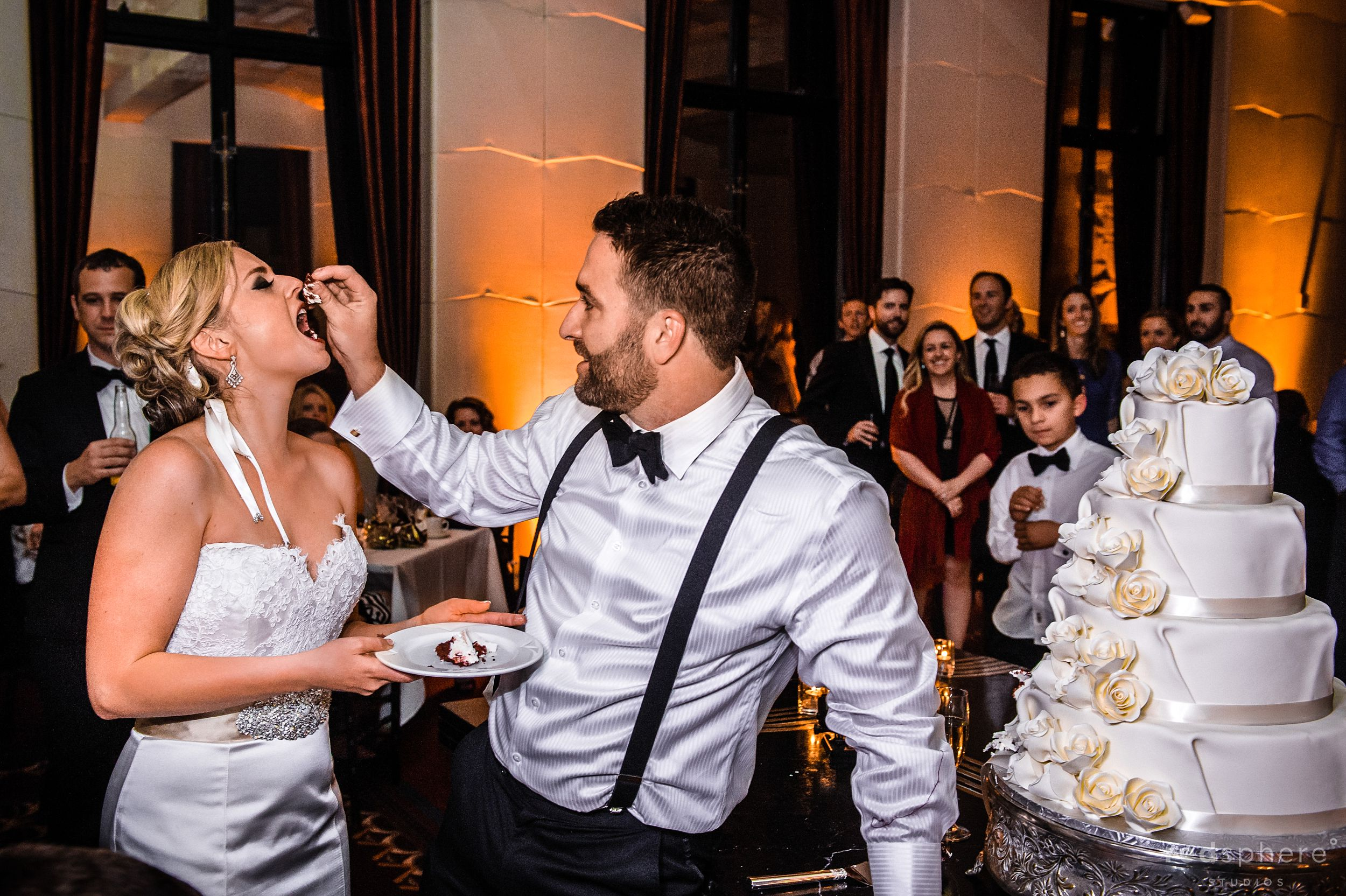 Grooms Feeds Bride Some Cake at City Club San Francisco After Party