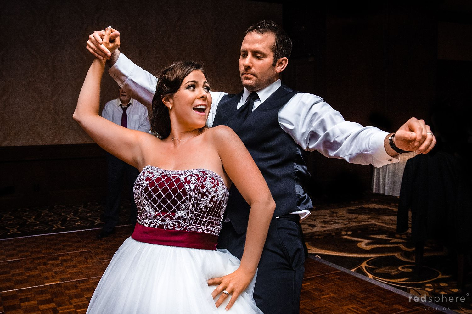 Bride and Groom Twirling and Dancing at The Inn at Spanish Bay