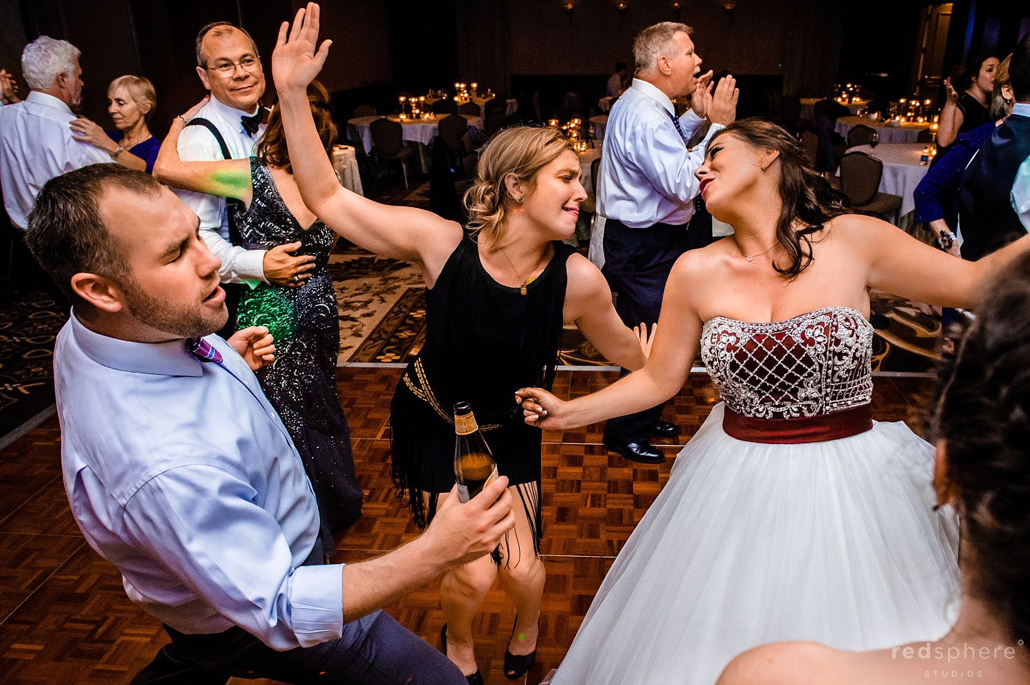 Bride Dancing With Guests at The Inn at Spanish Bay Wedding Reception
