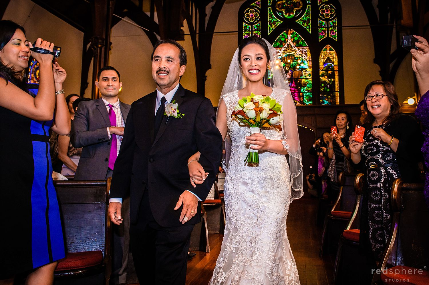 Father of Bride Walking Daughter Down the Aisle, Guests Clap and Record, St. John's Presbyterian Church Wedding