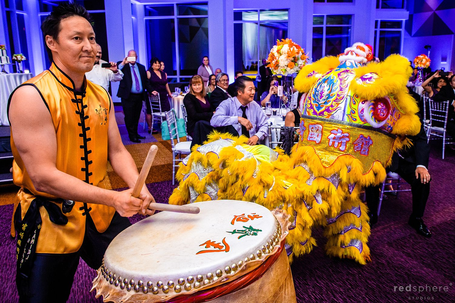 Lion Dance Drummers Perform for the Guests at Wedding Reception