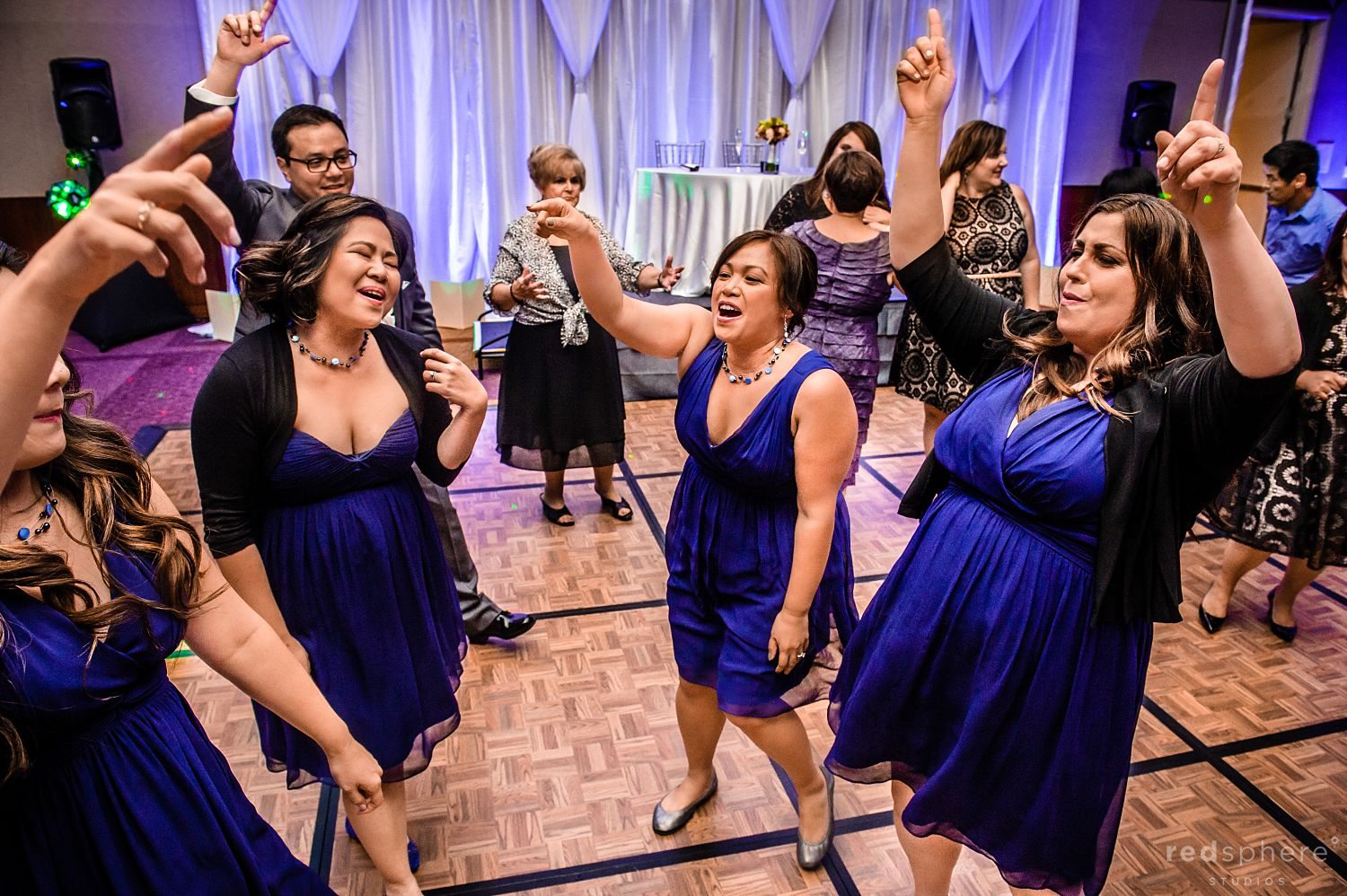 Bridesmaids' Dancing and Drinking During Wedding Reception at Intercontinental Hotel After Party
