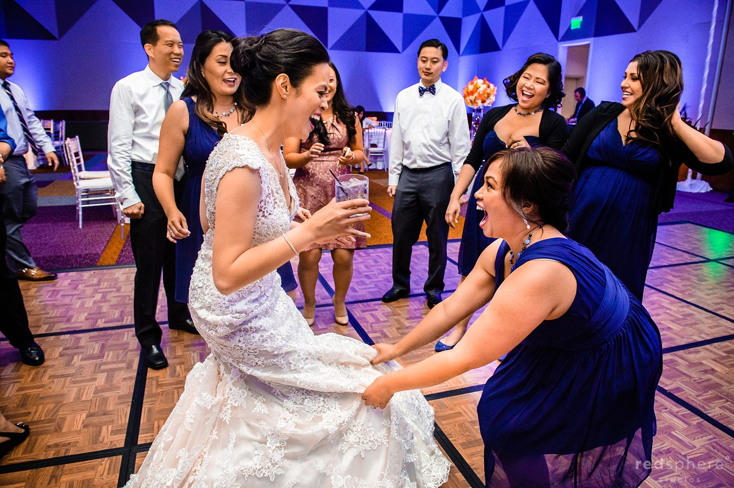 Bride Dances With Bridesmaid at Intercontinental Hotel