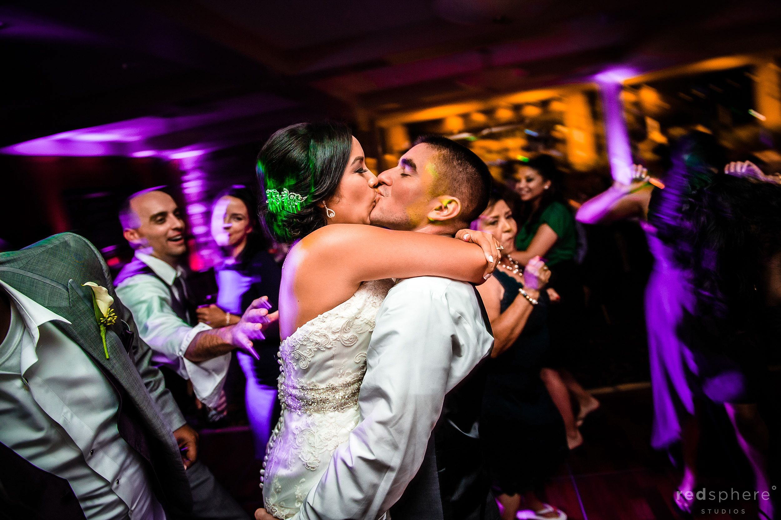 Bride and Groom Kiss, Fast Night at Palo Alto Hills Golf Club Afterparty