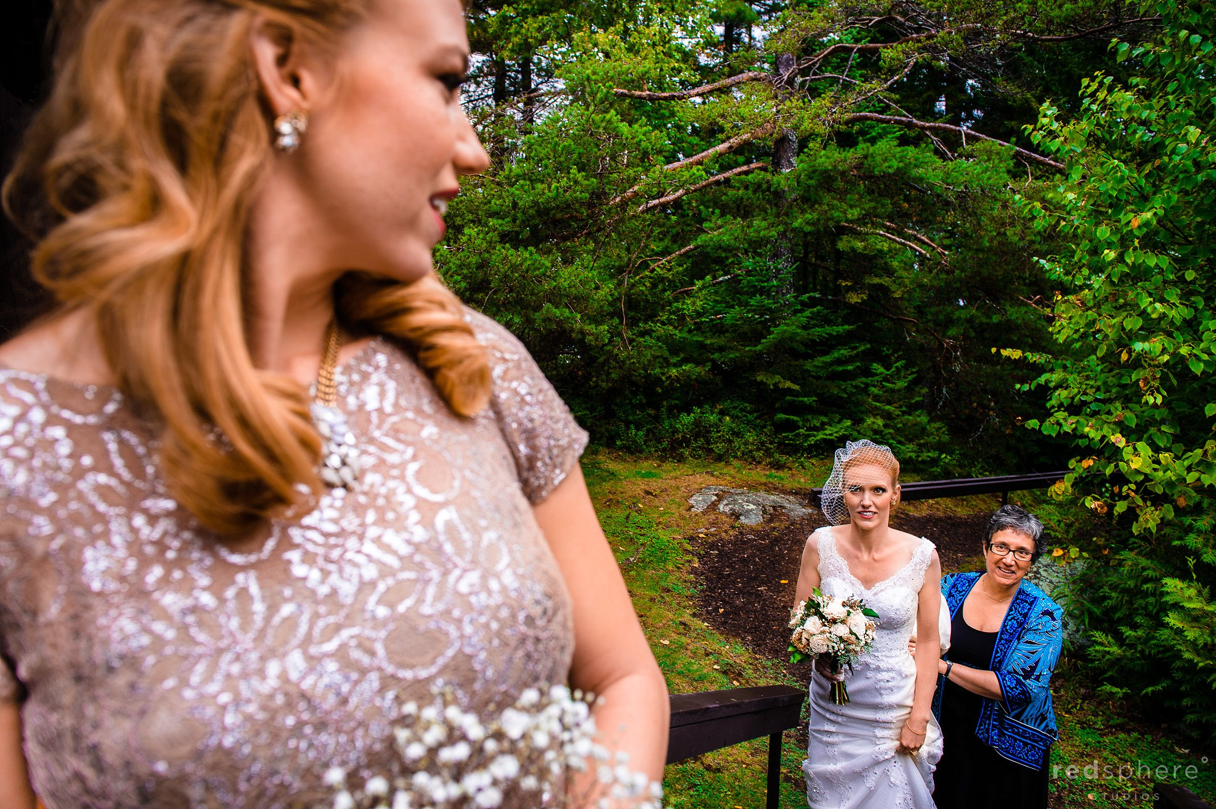 Bride Walking up Steps with Mother's Help