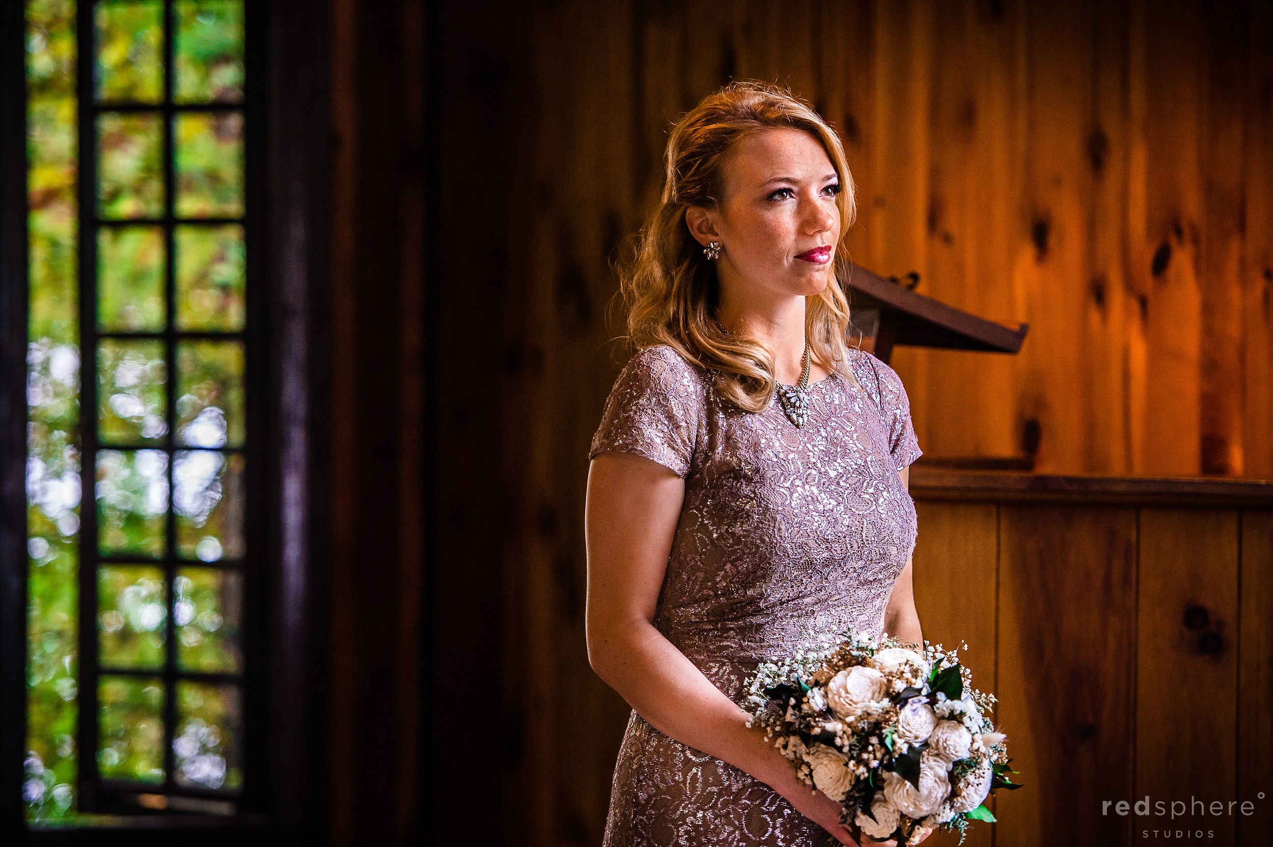 Maid of Honor with Flowers at Chapel Islands, Saranac Lake Wedding