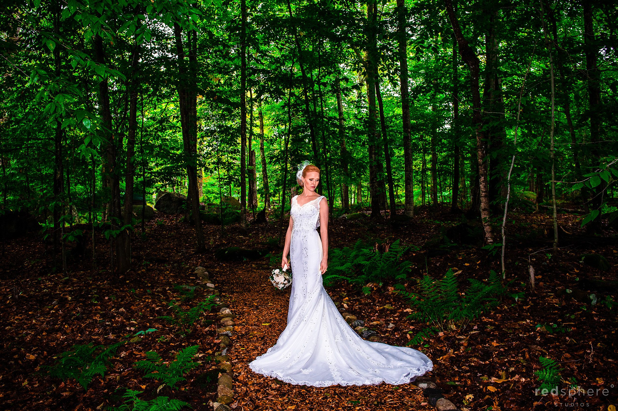 Bride in her Elegant Wedding Dress at Chapel Islands, New York