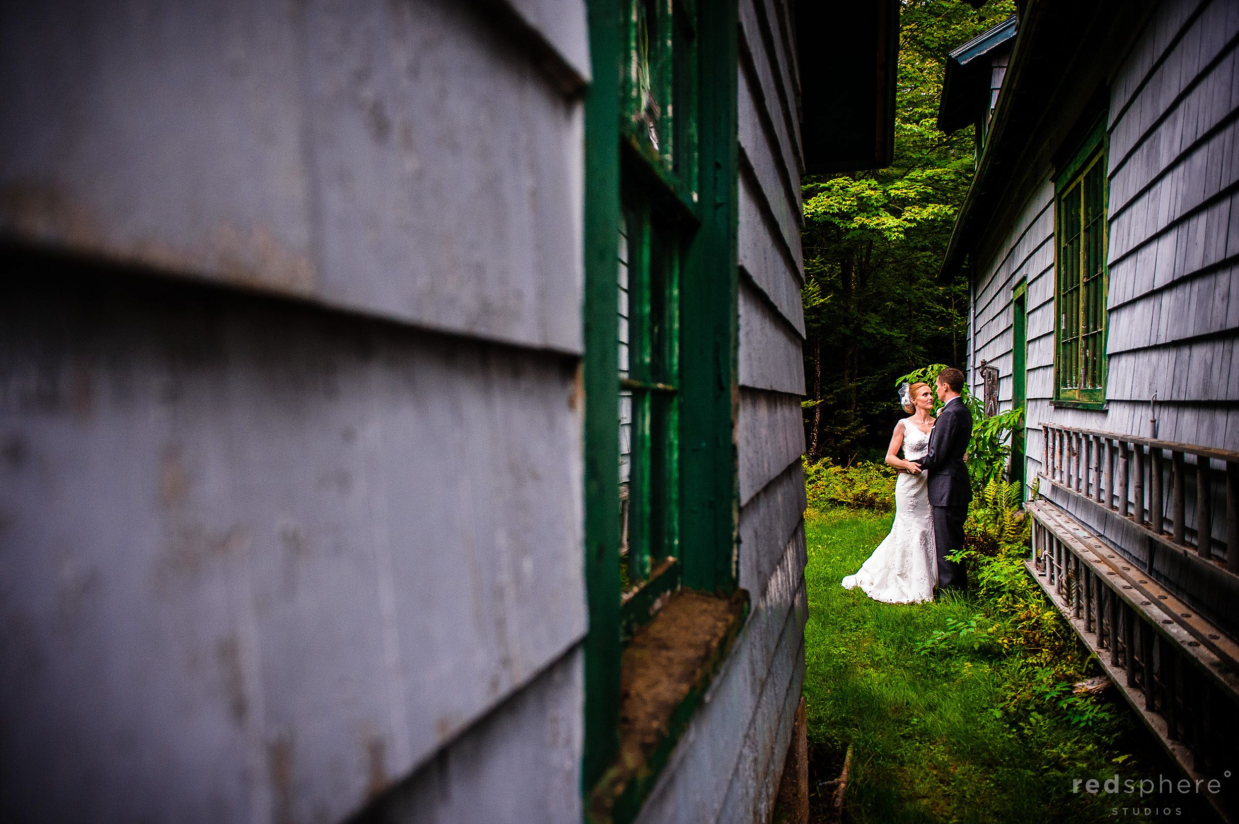 Bride and Groom Behind the Cabins at Chapel Island NY
