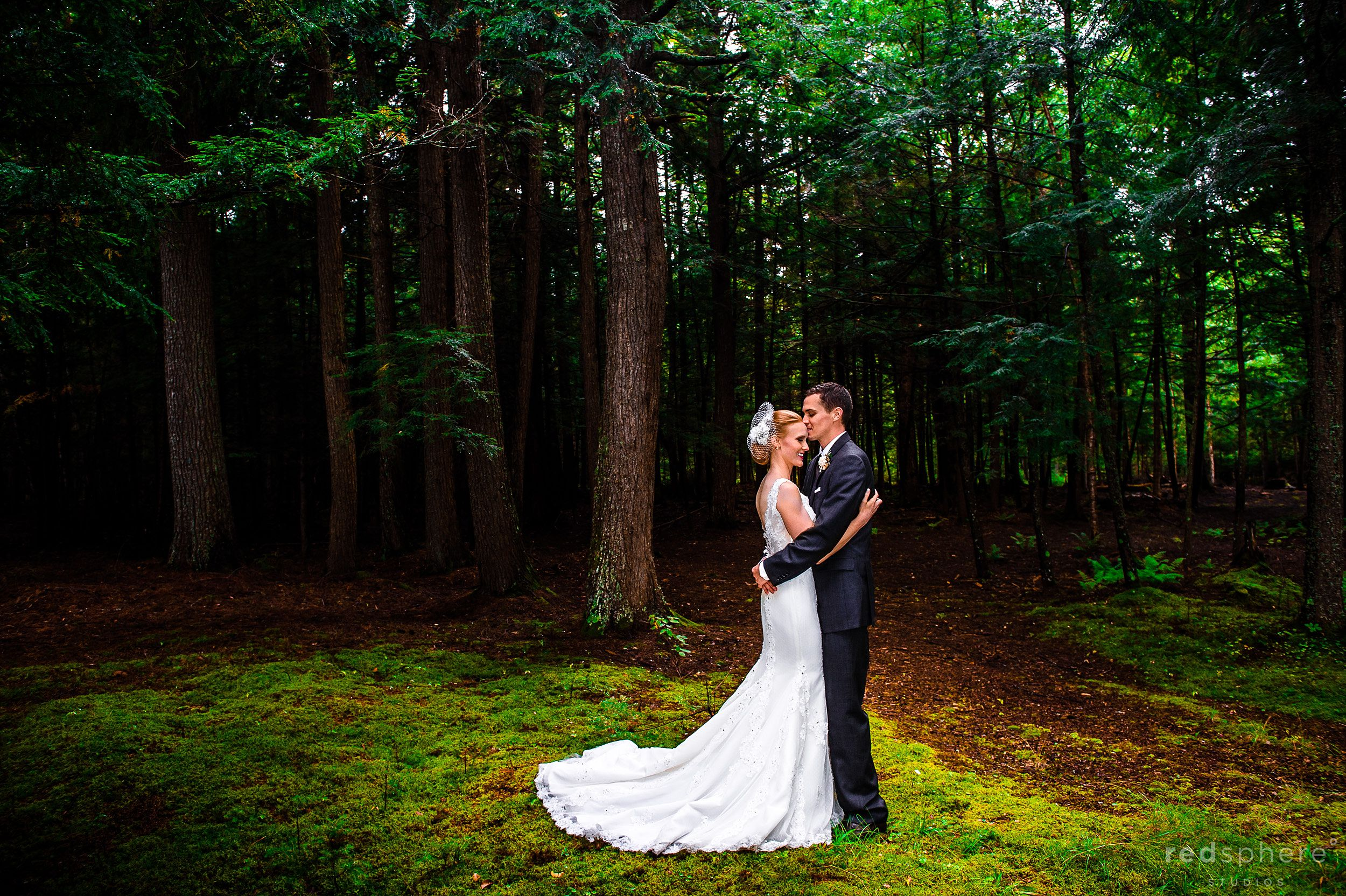 Groom Lays a Kiss on Bride's Head in the Forest at Chapel Island NY