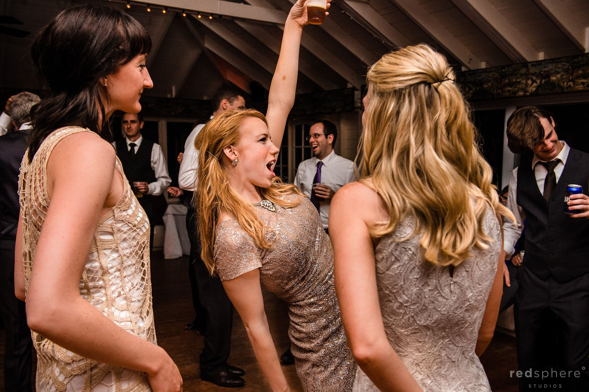 Guests Dancing and Giving Toasts at Chapel Island Wedding Reception