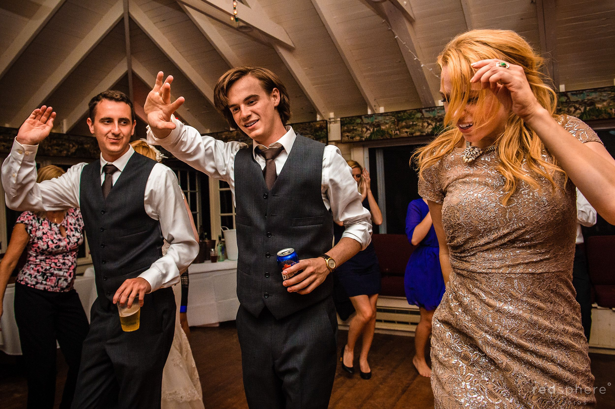 Bridesmaid and Groomsmen Dance Together at Chapel Island Wedding Reception