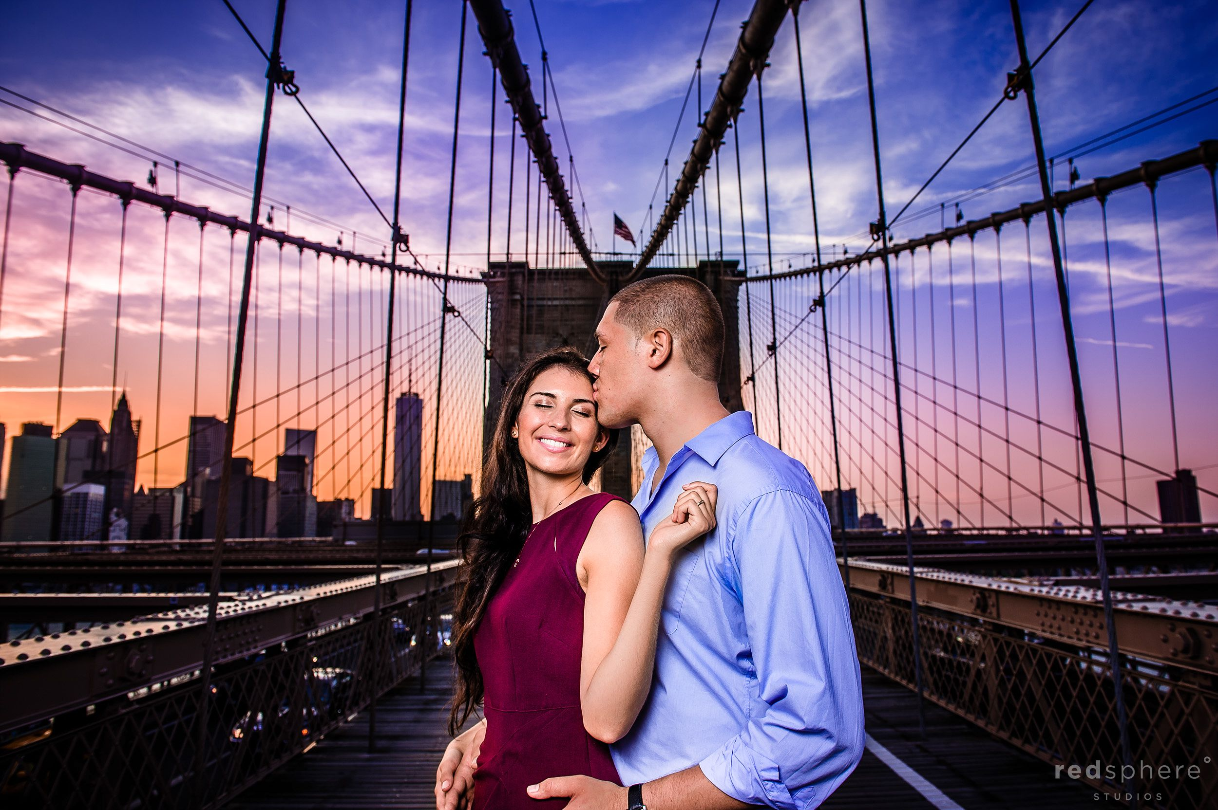 Brooklyn Bridge Engagement, Connor Kisses Alyssa
