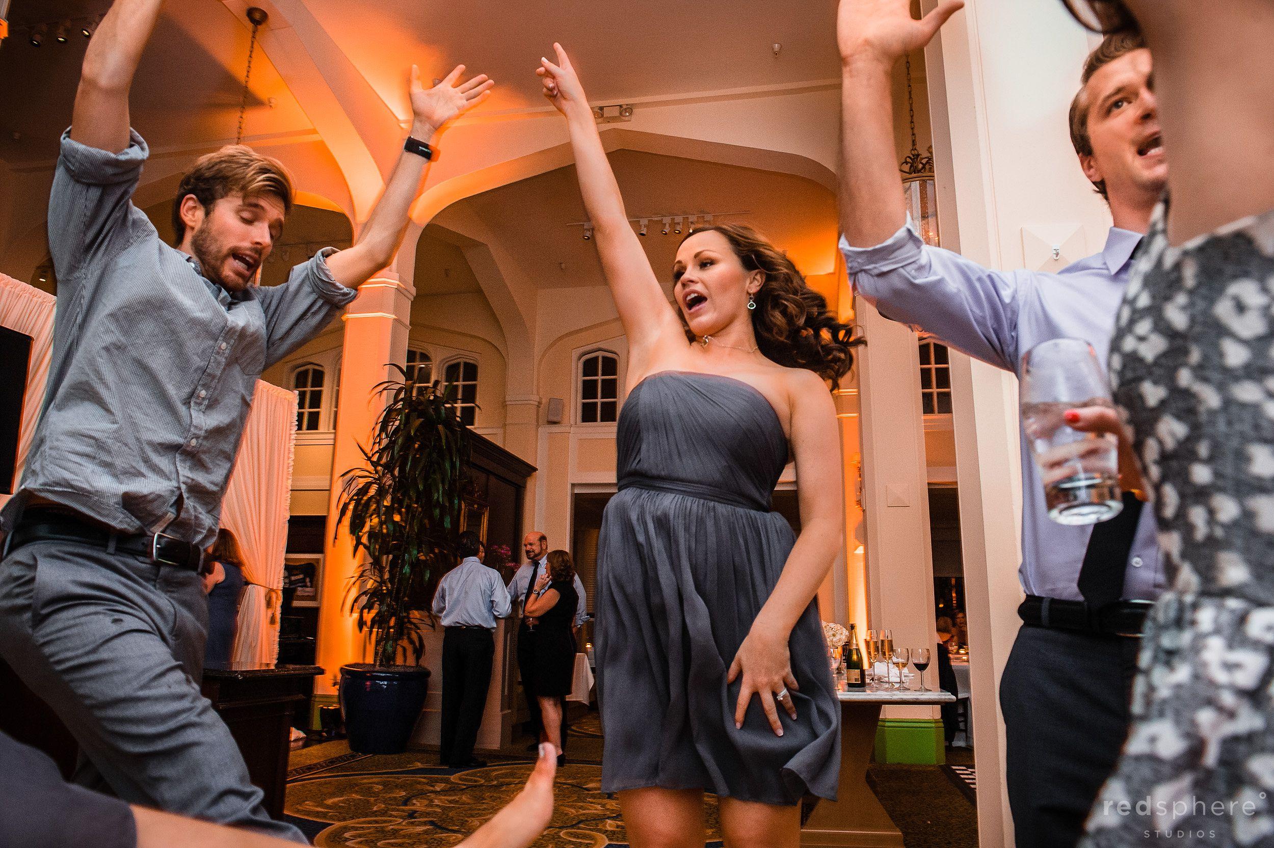 Guests Jump Dancing at Wedding Reception, Berkeley California