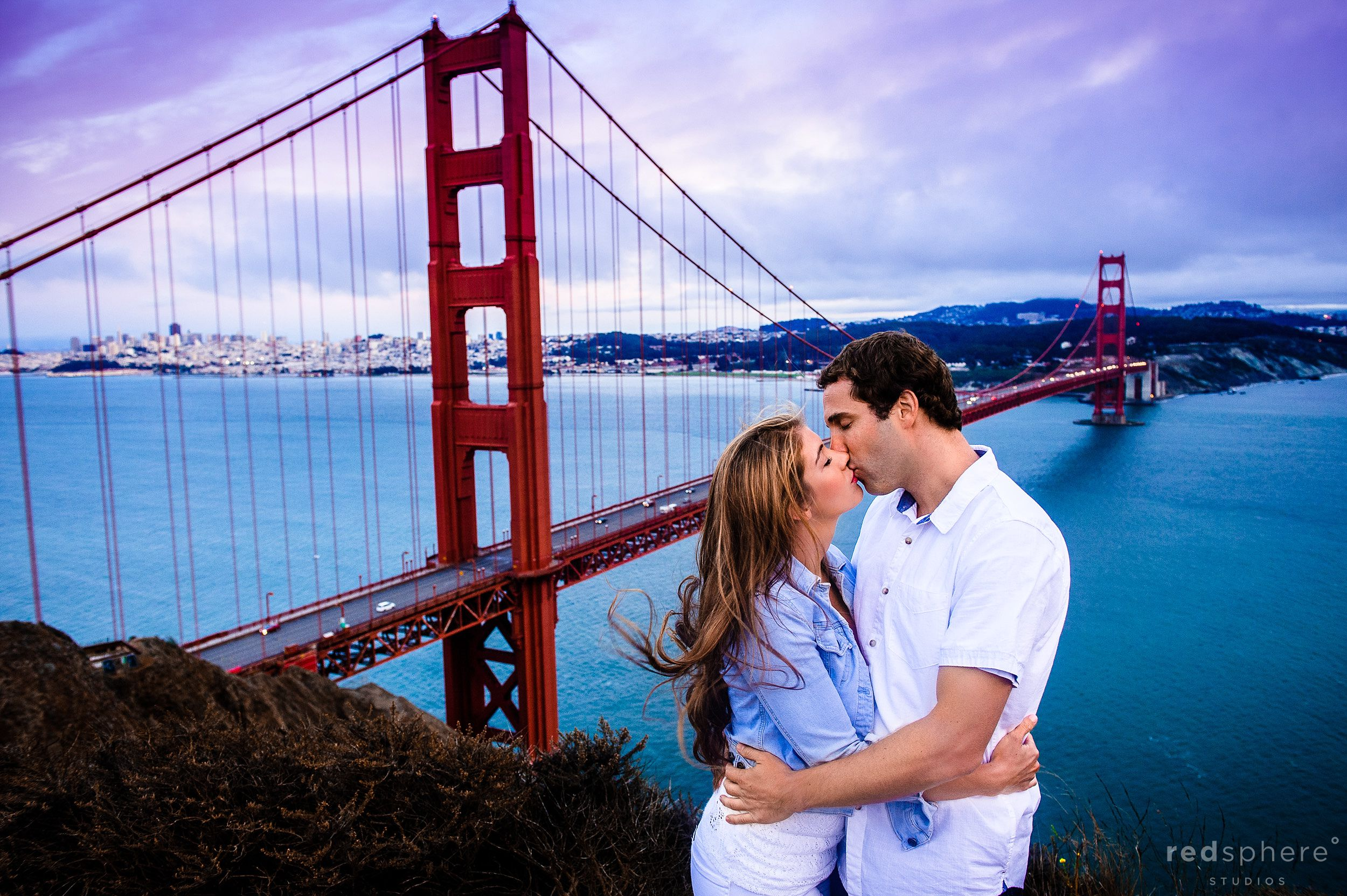 Engagement Kiss at Battery Spencer, Marin Headlands Overlook of San Francisco